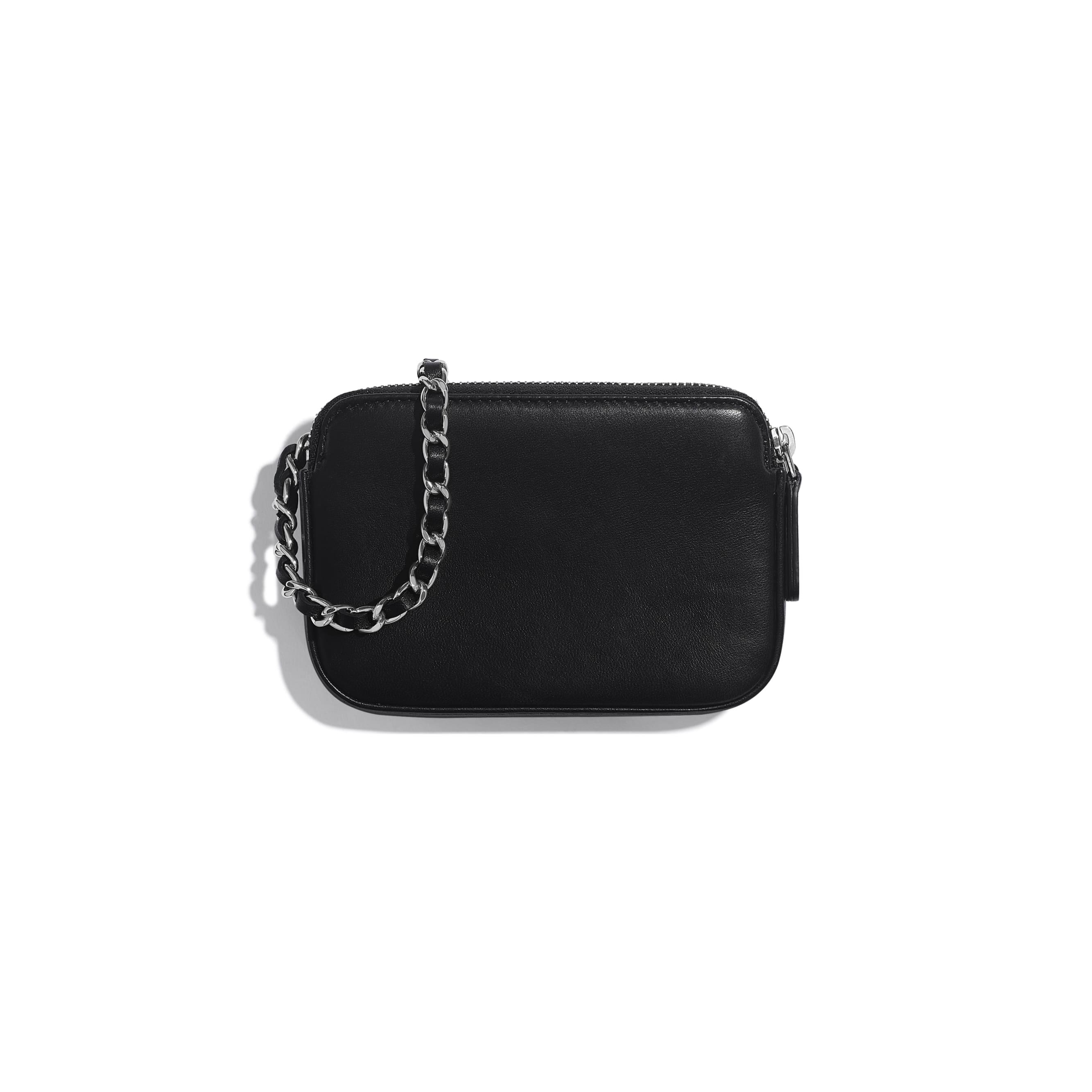 กระเป๋าคลัทช์พร้อมสายโซ่ - สีดำ สีเงิน และสีขาว - หนังแกะ ปักเลื่อม และประดับโลหะสีเงิน - มุมมองทางอื่น - ดูเวอร์ชันขนาดมาตรฐาน