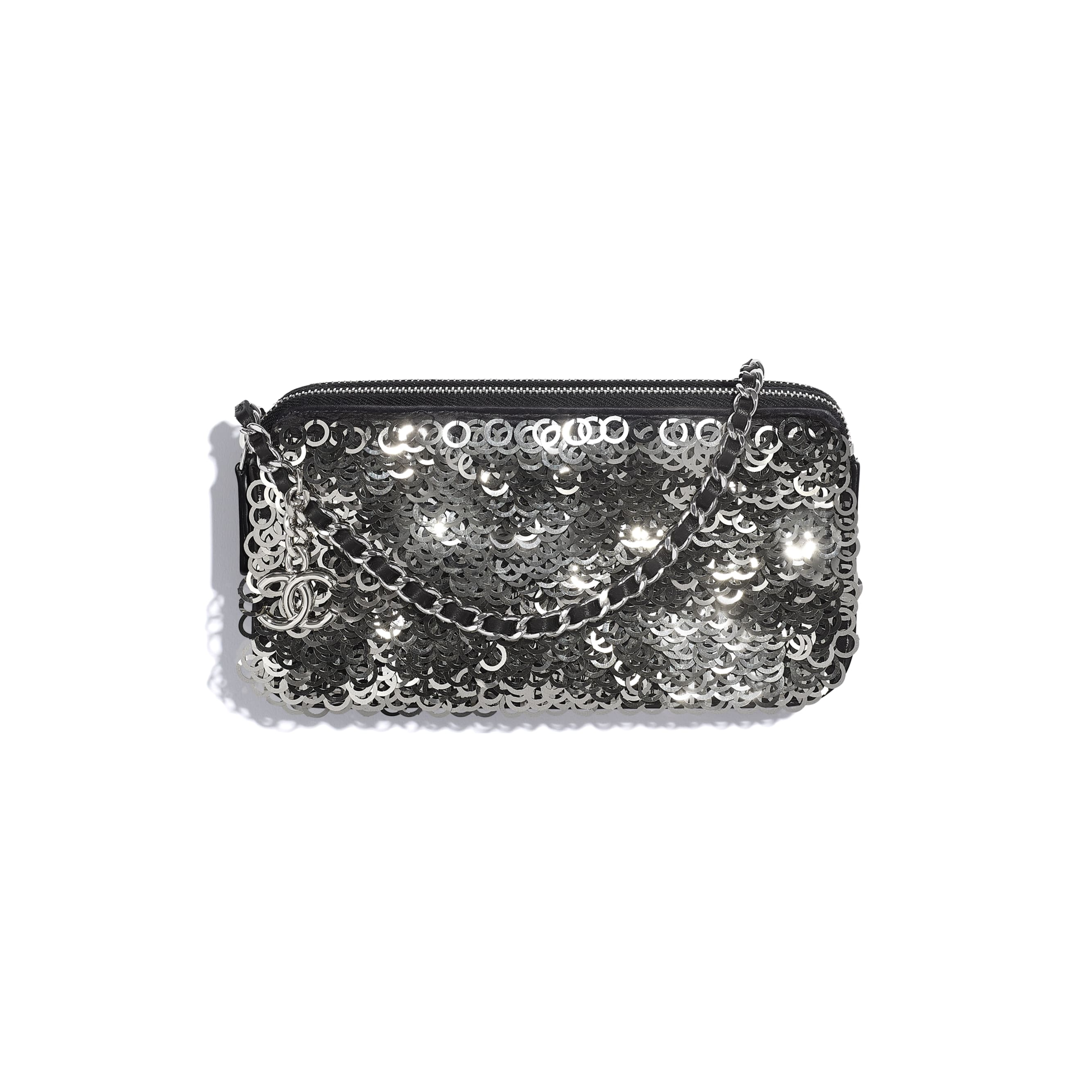 Clutch with Chain - Black, Silver & White - Lambskin, Sequins & Silver-Tone Metal - CHANEL - Default view - see standard sized version
