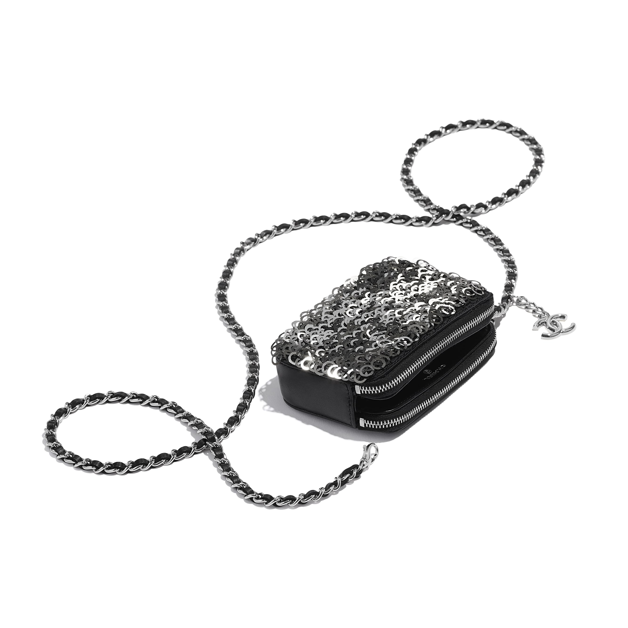 Clutch With Chain - Black, Silver & White - Lambskin, Sequins & Silver-Tone Metal - CHANEL - Extra view - see standard sized version