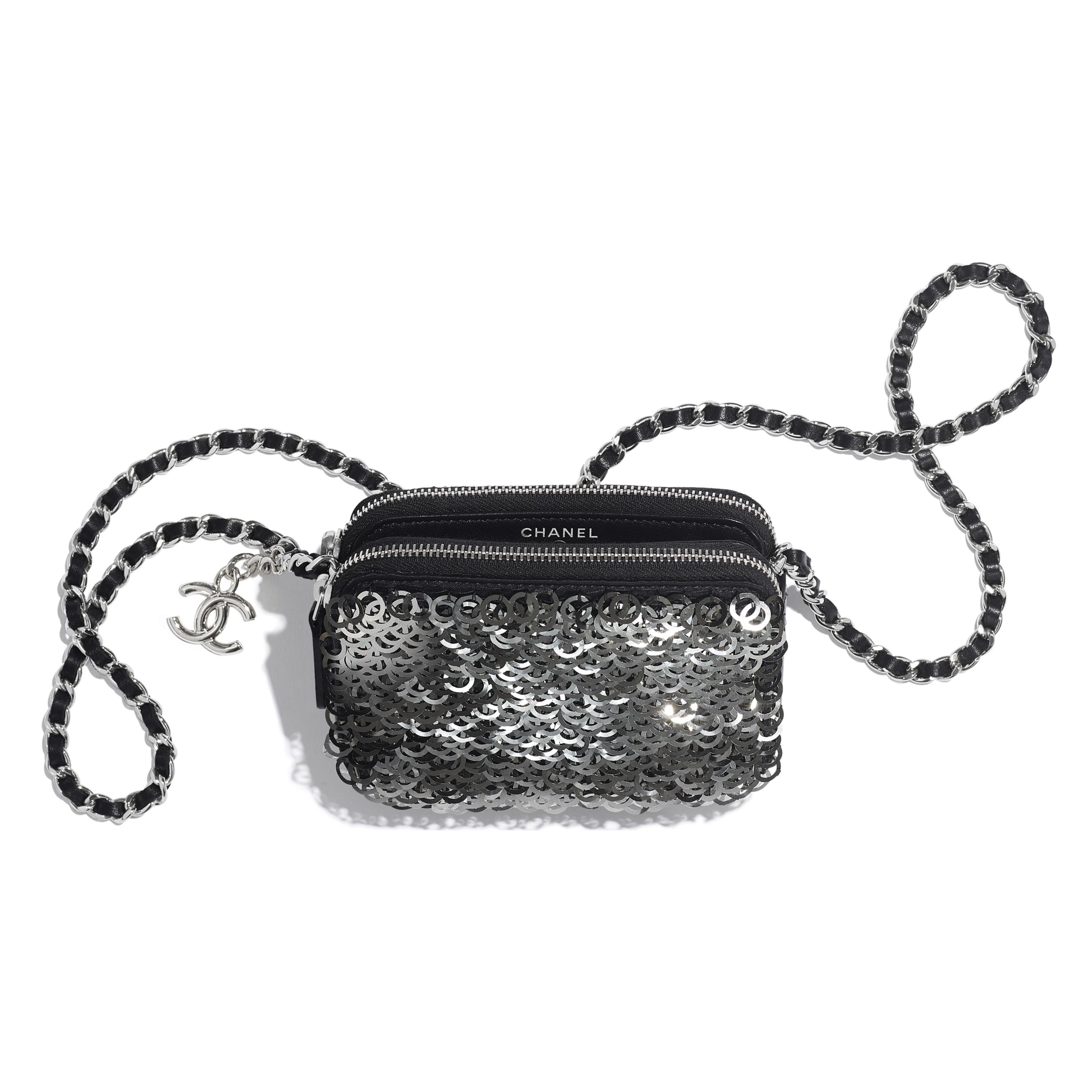 Clutch With Chain - Black, Silver & White - Lambskin, Sequins & Silver-Tone Metal - Other view - see standard sized version