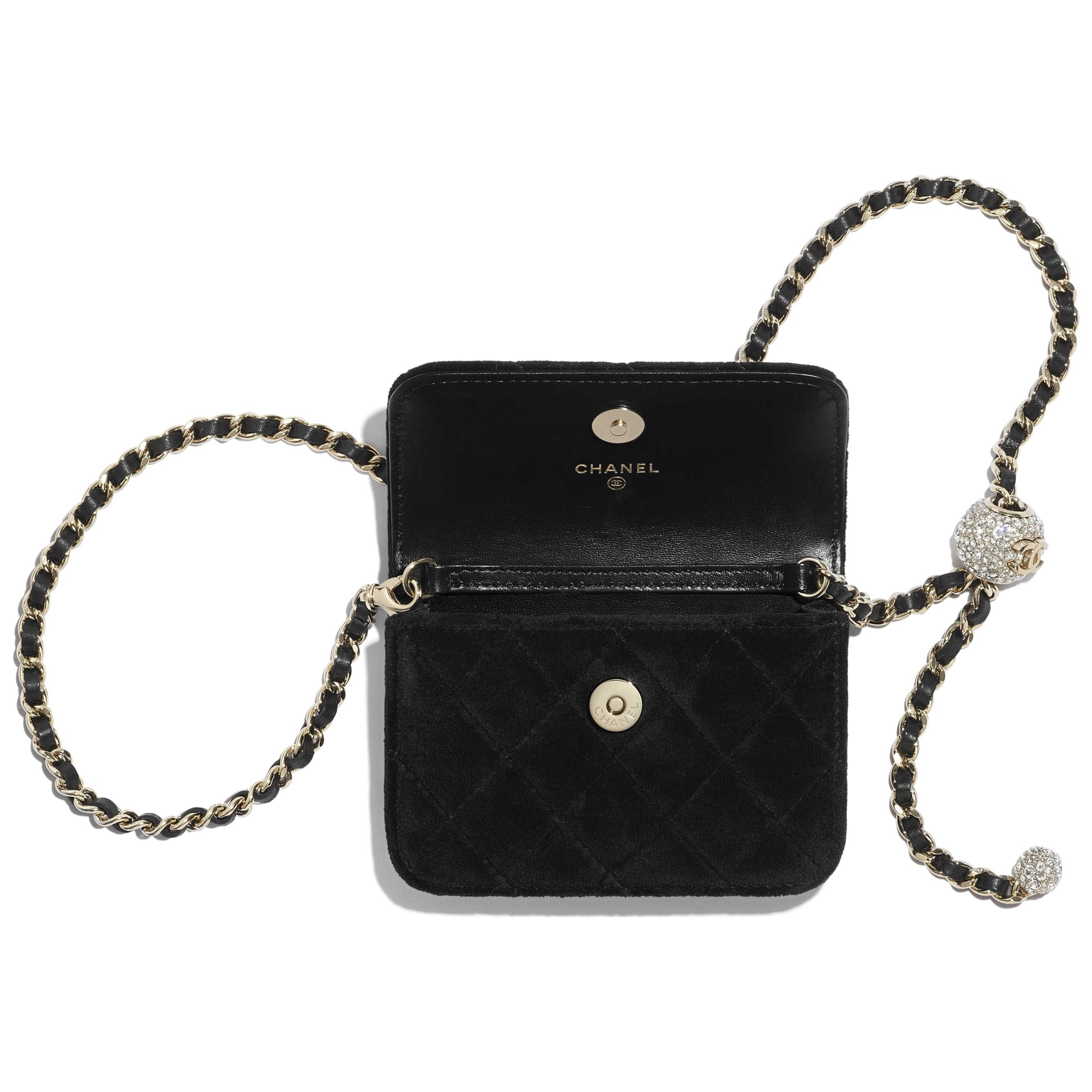 Clutch with Chain - Black - Velvet, Strass & Gold-Tone Metal - CHANEL - Alternative view - see standard sized version