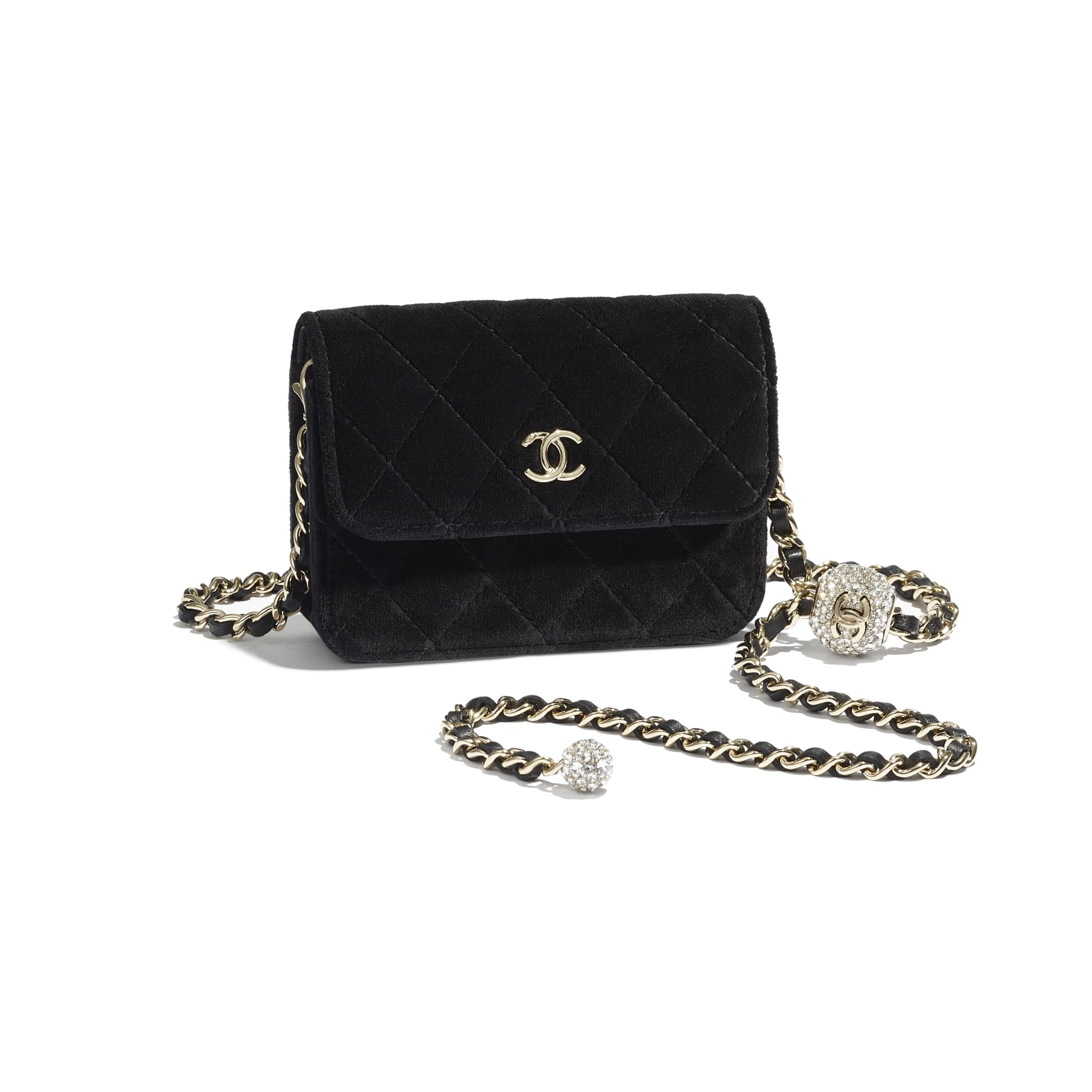 Clutch with Chain - Black - Velvet, Strass & Gold-Tone Metal - CHANEL - Extra view - see standard sized version