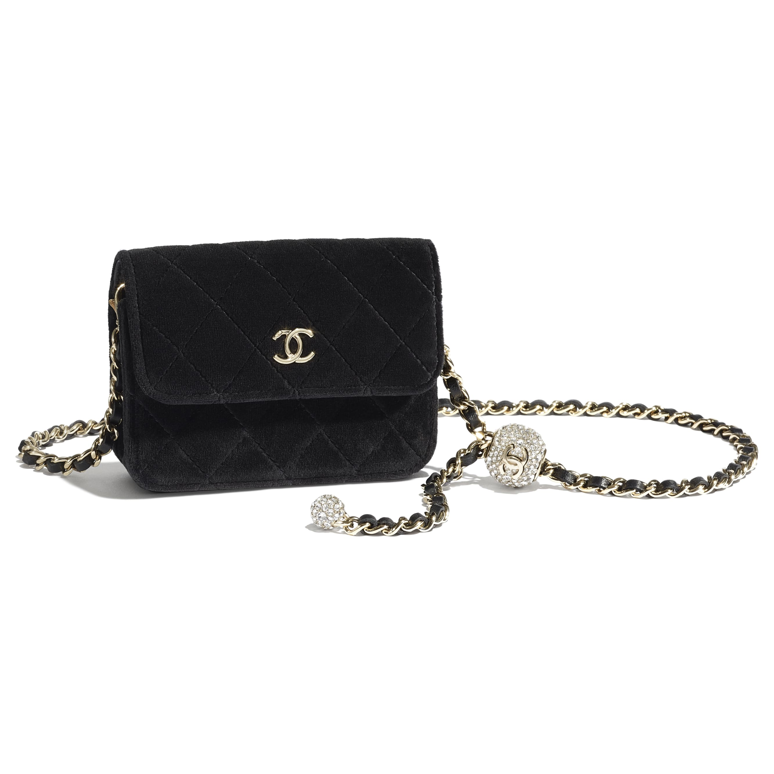 Clutch with Chain - Black - Velvet, Strass & Gold-Tone Metal - CHANEL - Other view - see standard sized version