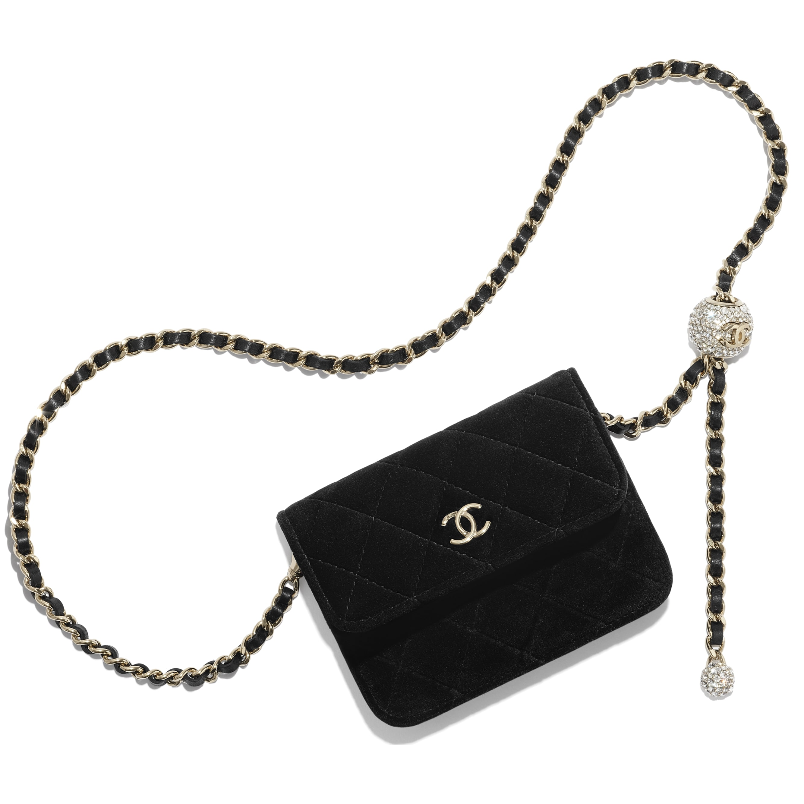 Clutch With Chain - Black - Velvet, Diamanté & Silver-Tone Metal - CHANEL - Default view - see standard sized version