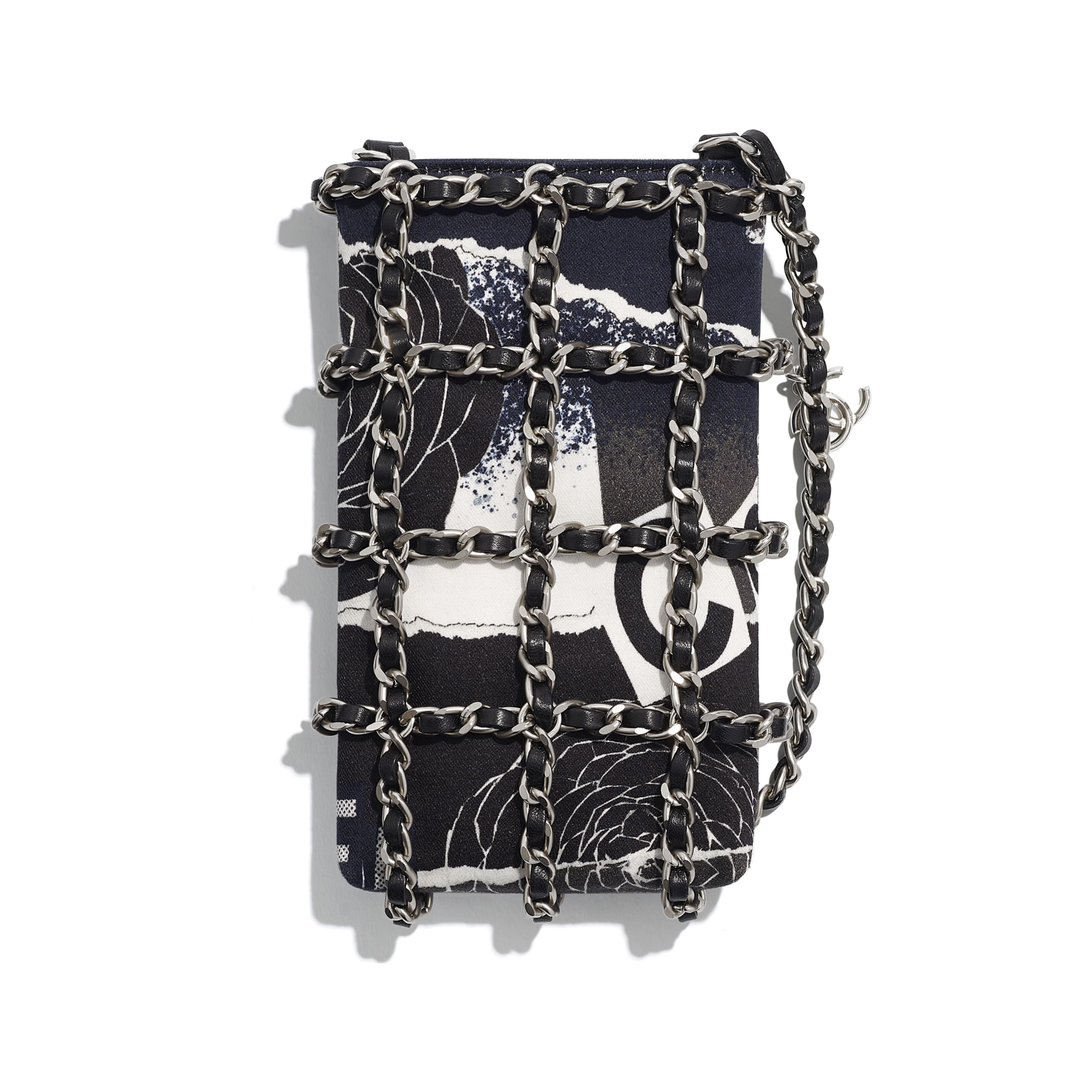 Clutch With Chain - Black & White - Printed Cotton & Silver-Tone Metal - Alternative view - see standard sized version