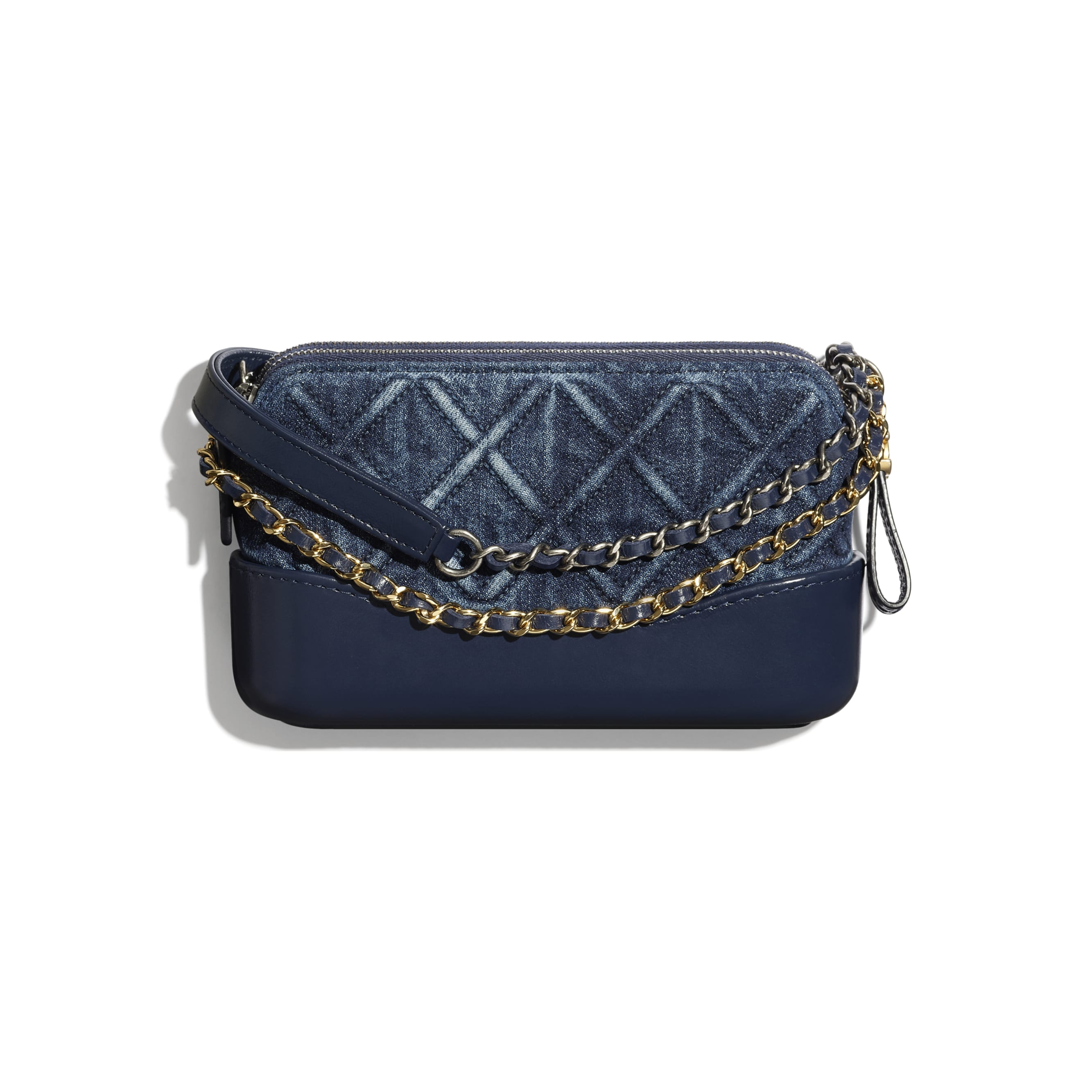 Clutch With Chain - Blue - Denim, Calfskin, Gold-Tone, Silver-Tone & Ruthenium-Finish Metal - CHANEL - Alternative view - see standard sized version