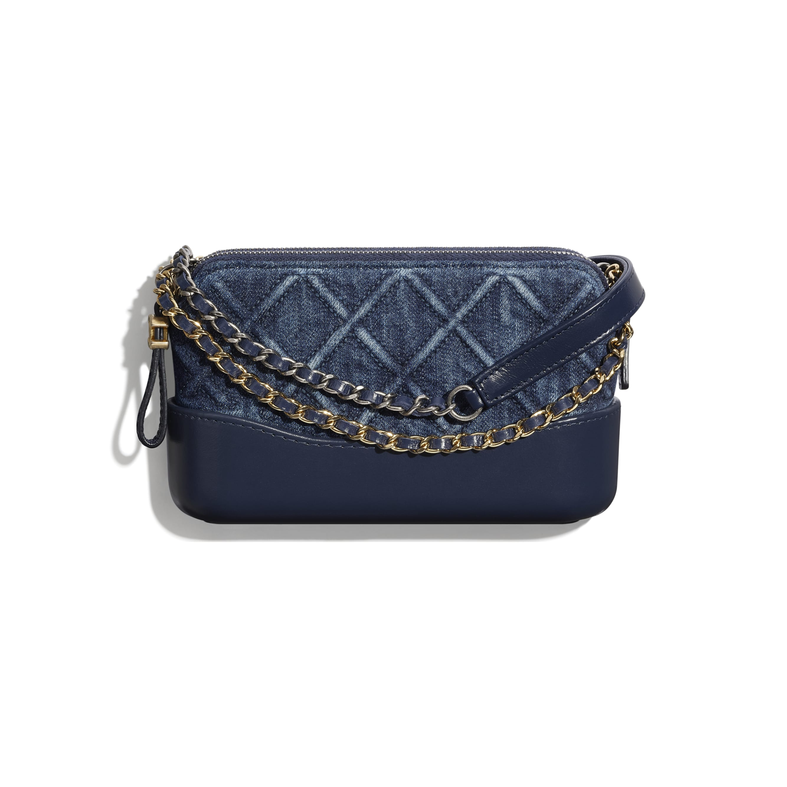 Clutch With Chain - Blue - Denim, Calfskin, Gold-Tone, Silver-Tone & Ruthenium-Finish Metal - CHANEL - Default view - see standard sized version
