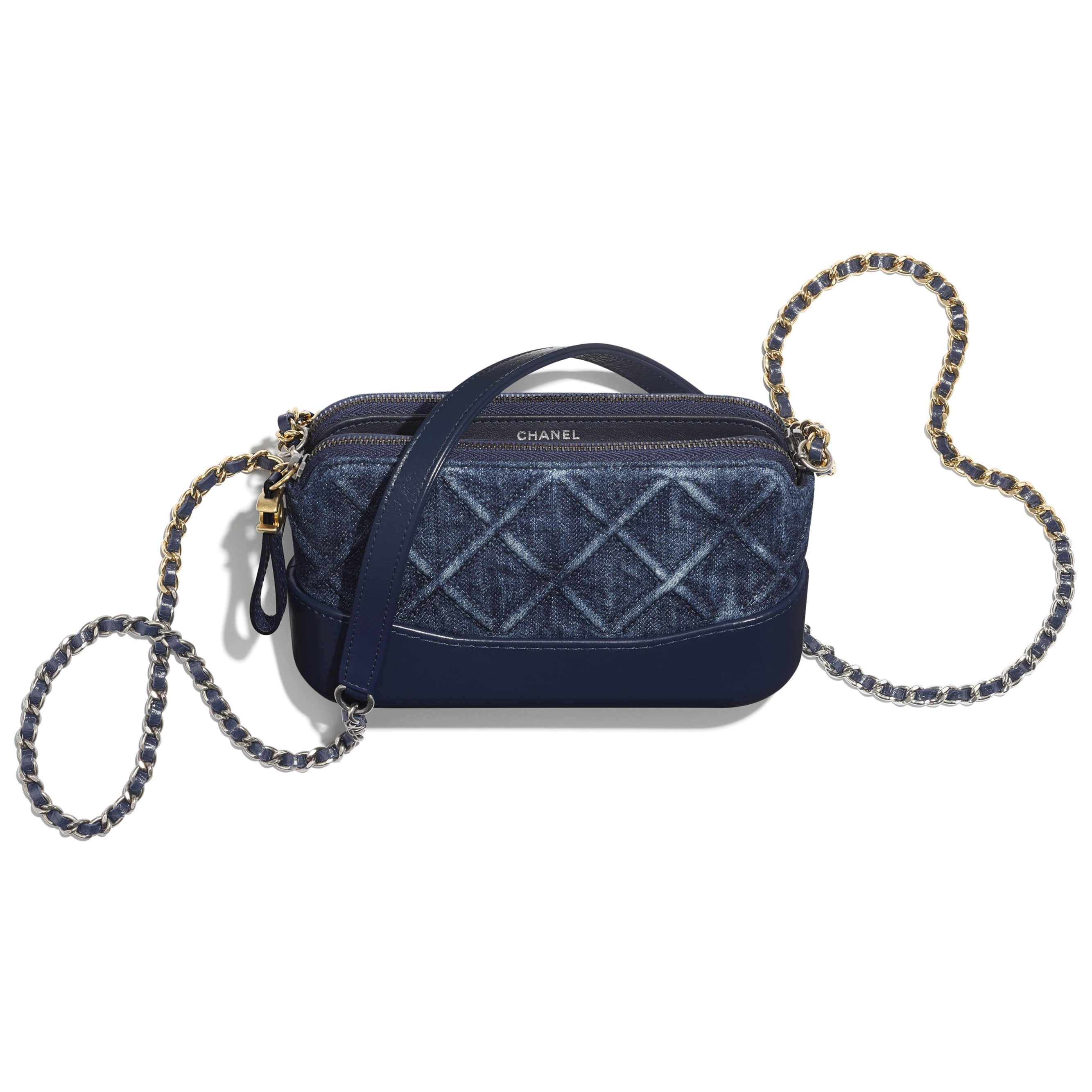 Clutch With Chain - Blue - Denim, Calfskin, Gold-Tone, Silver-Tone & Ruthenium-Finish Metal - CHANEL - Other view - see standard sized version