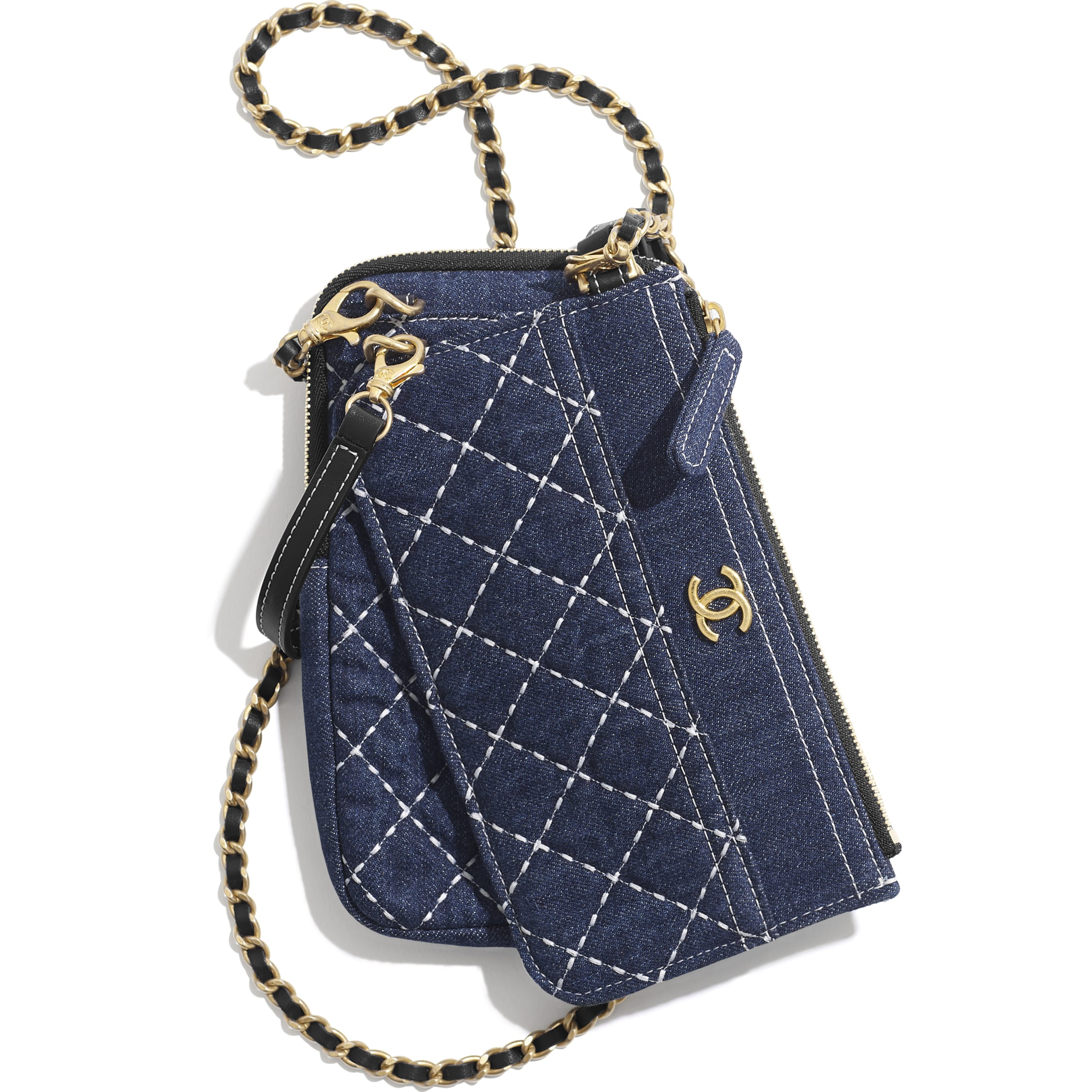 Clutch with Chain - Blue - Denim & Gold-Tone Metal - CHANEL - Alternative view - see standard sized version