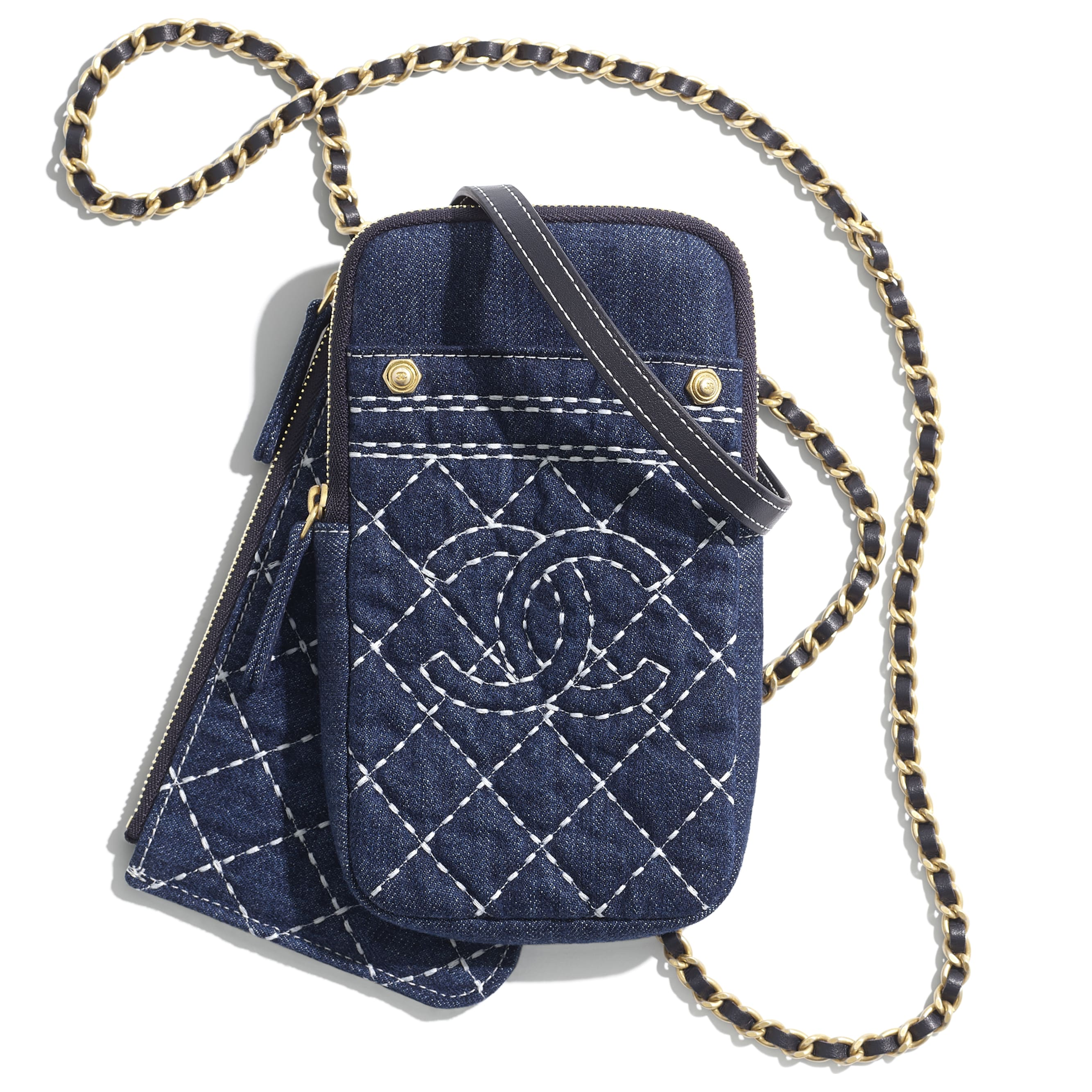 Clutch with Chain - Blue - Denim & Gold-Tone Metal - CHANEL - Default view - see standard sized version