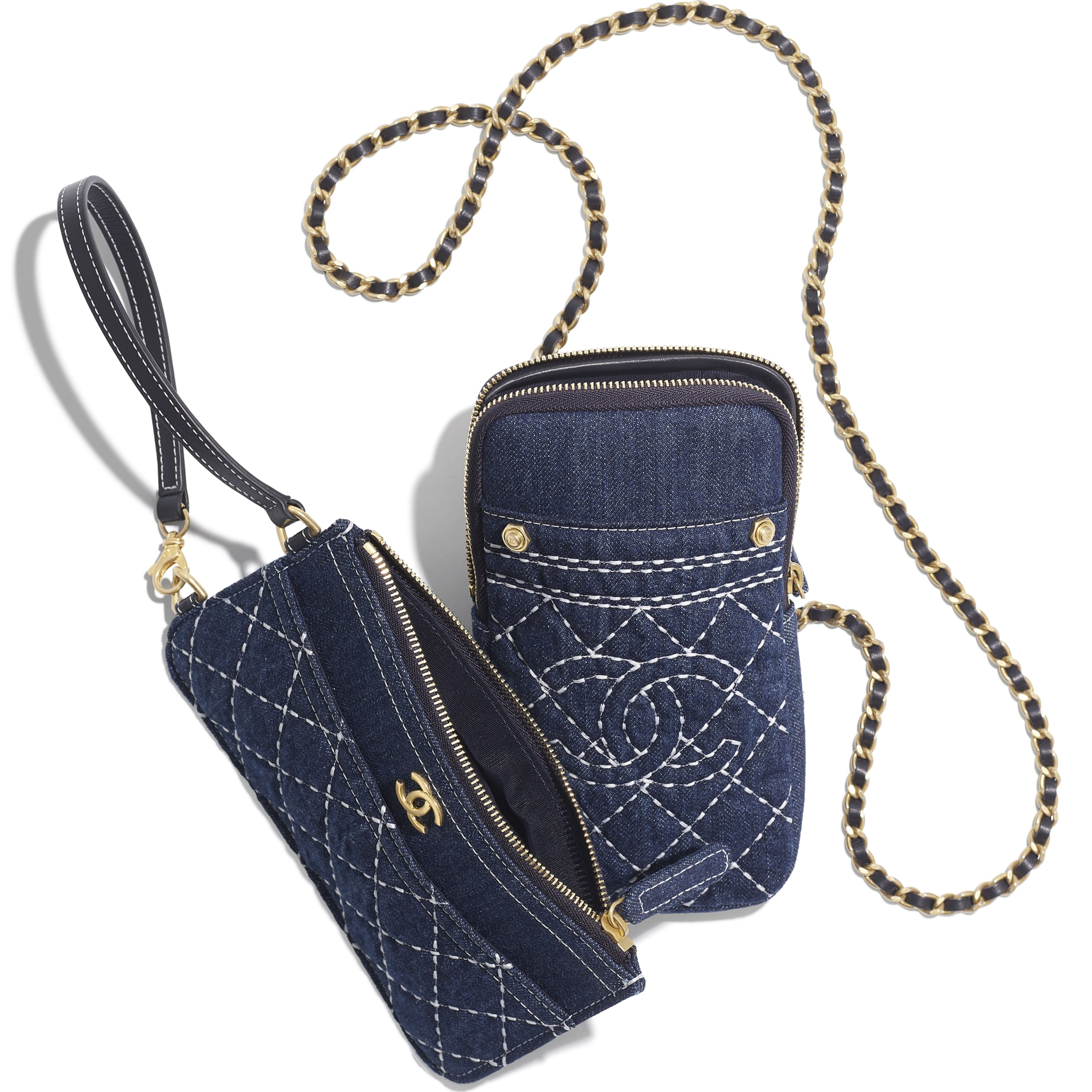 Clutch with Chain - Blue - Denim & Gold-Tone Metal - CHANEL - Other view - see standard sized version