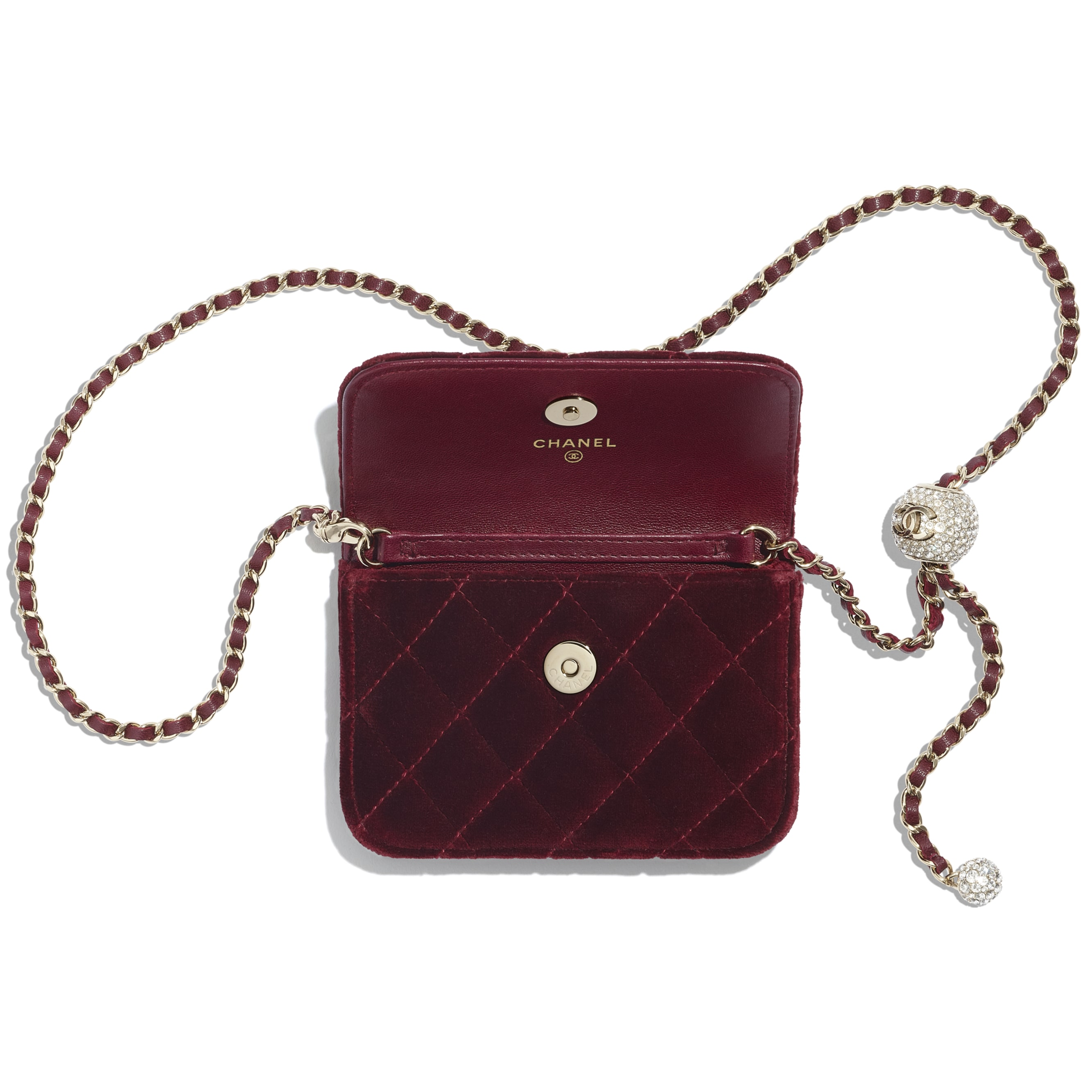 Clutch With Chain - Burgundy - Velvet, Diamanté & Gold-Tone Metal - CHANEL - Alternative view - see standard sized version