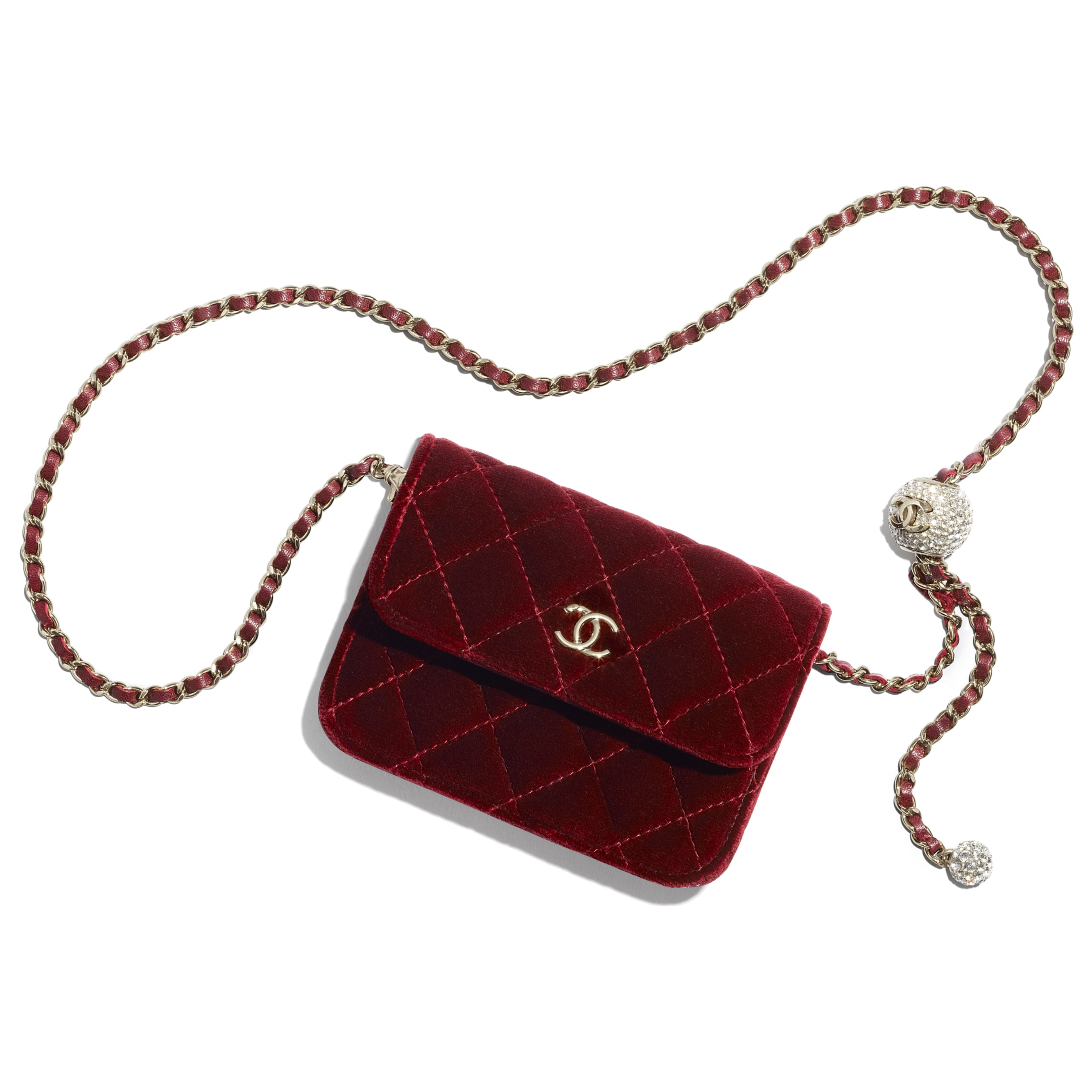 Clutch With Chain - Burgundy - Velvet, Diamanté & Gold-Tone Metal - CHANEL - Default view - see standard sized version