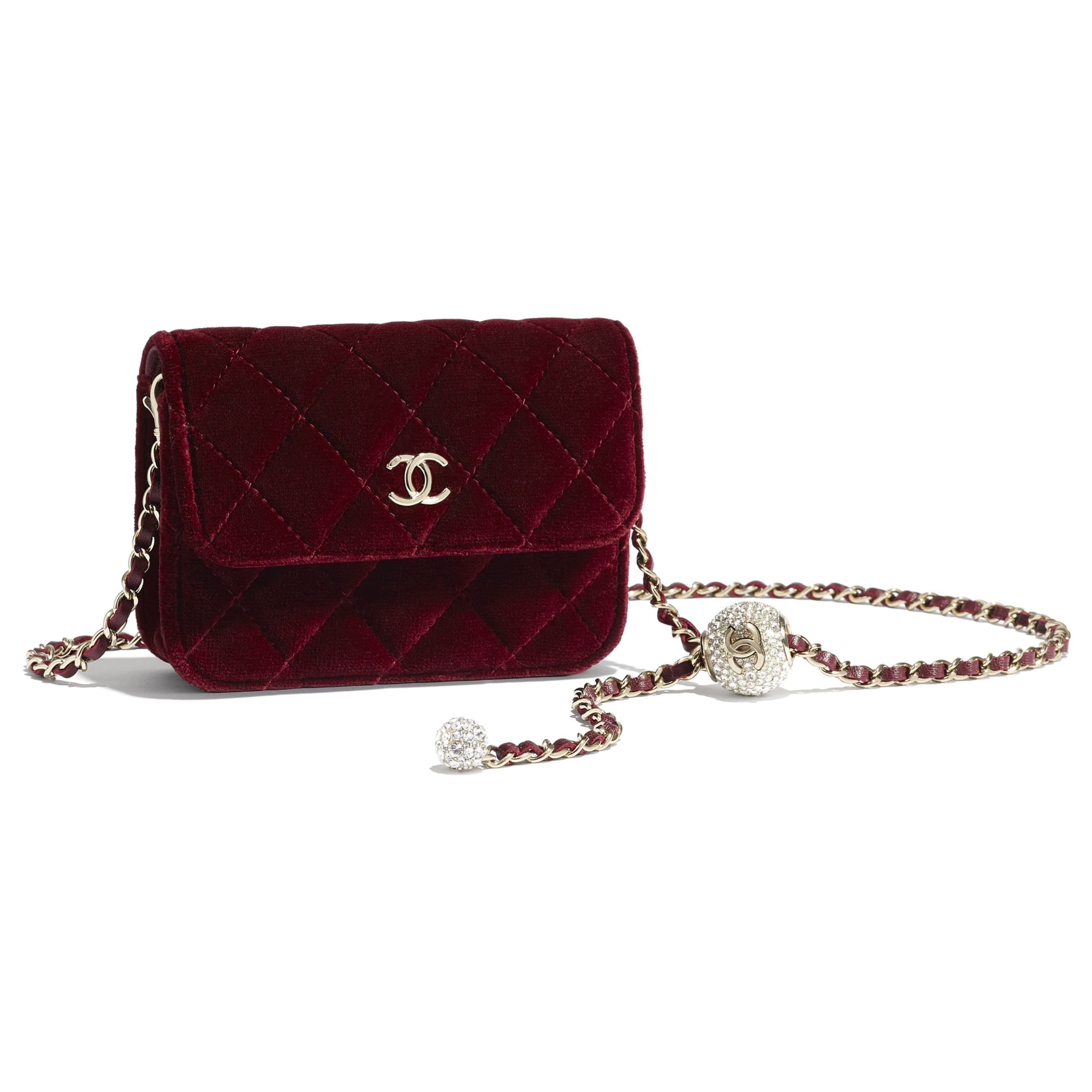 Clutch With Chain - Burgundy - Velvet, Diamanté & Gold-Tone Metal - CHANEL - Other view - see standard sized version