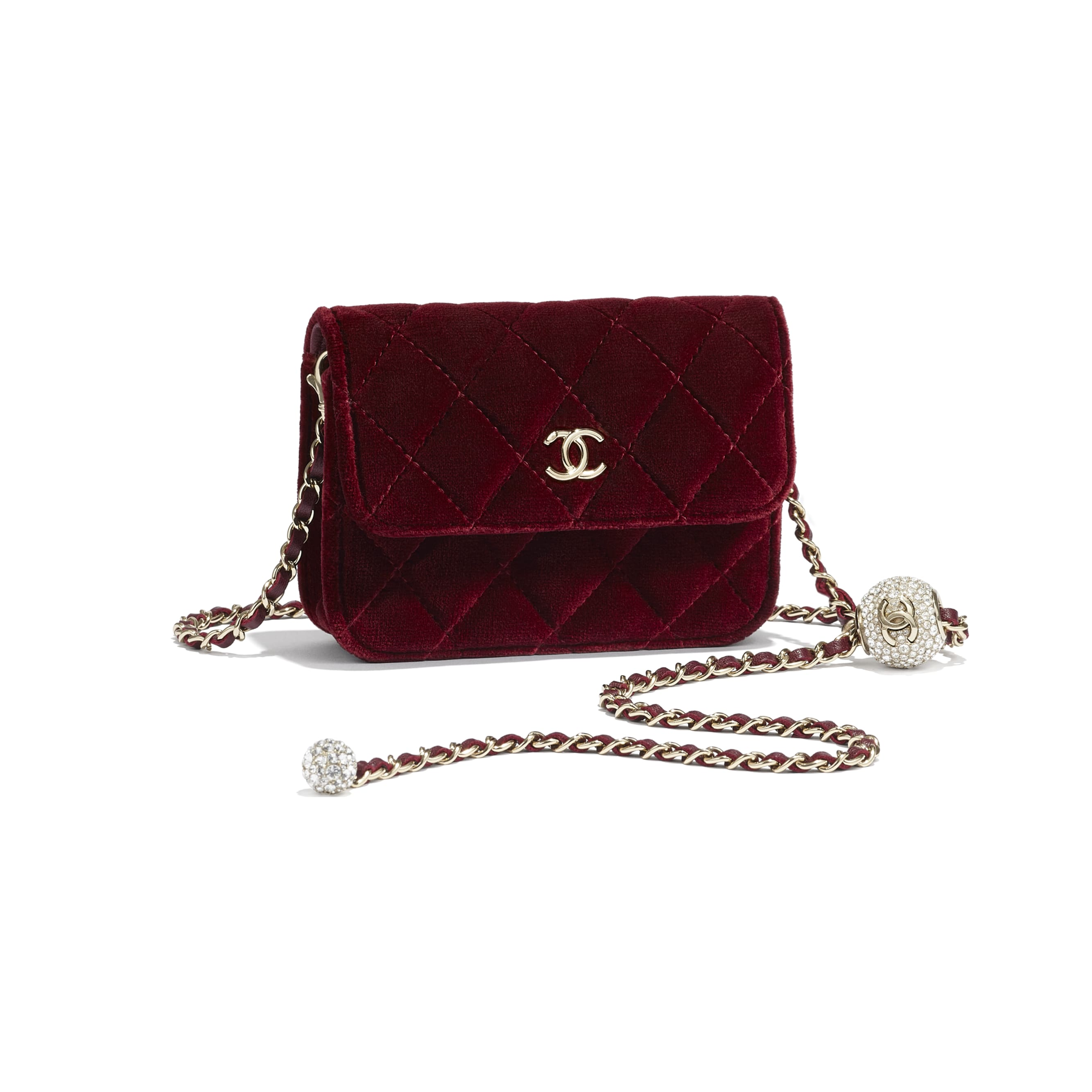 Clutch With Chain - Burgundy - Velvet, Diamanté & Silver-Tone Metal - CHANEL - Extra view - see standard sized version