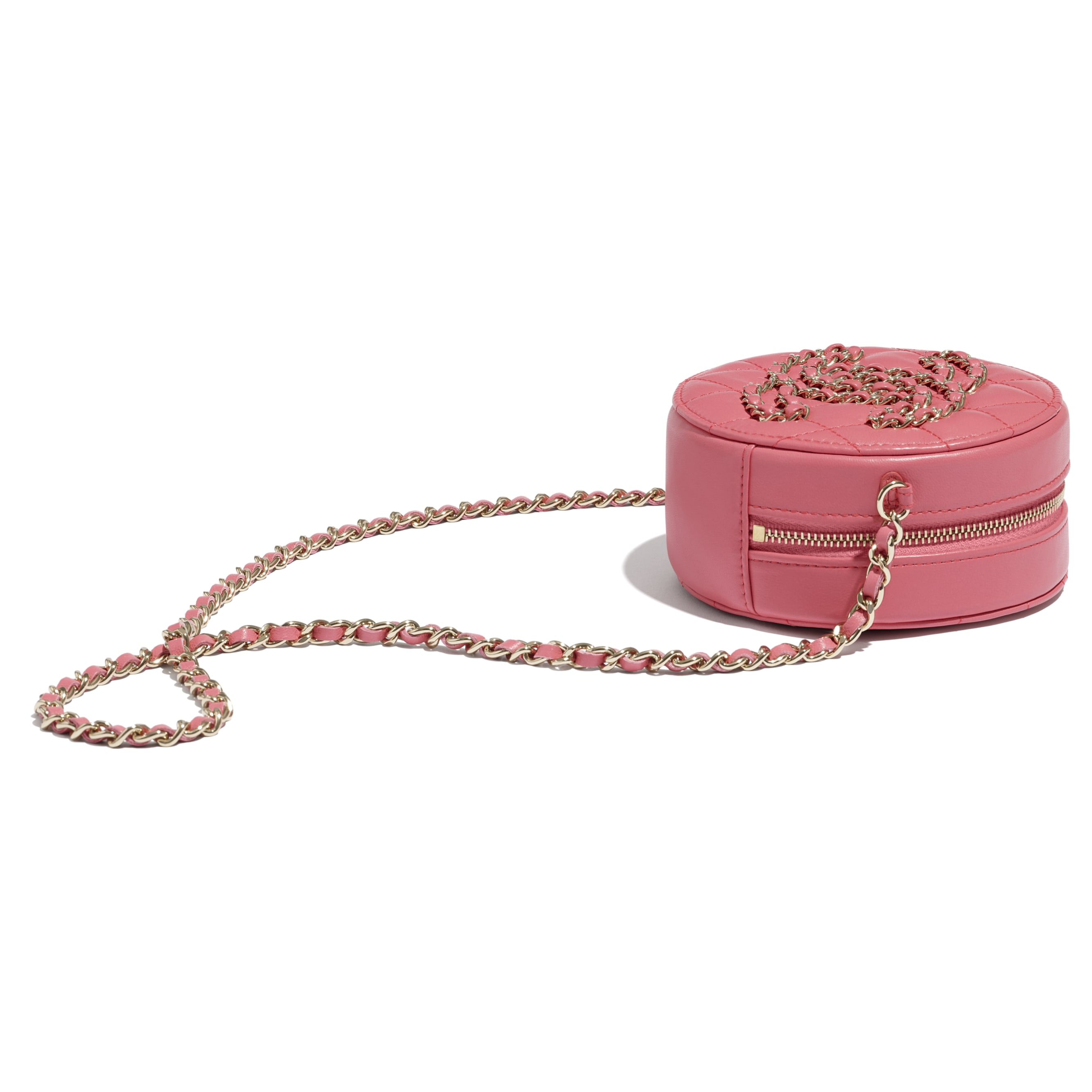 Clutch With Chain - Coral - Lambskin - CHANEL - Extra view - see standard sized version
