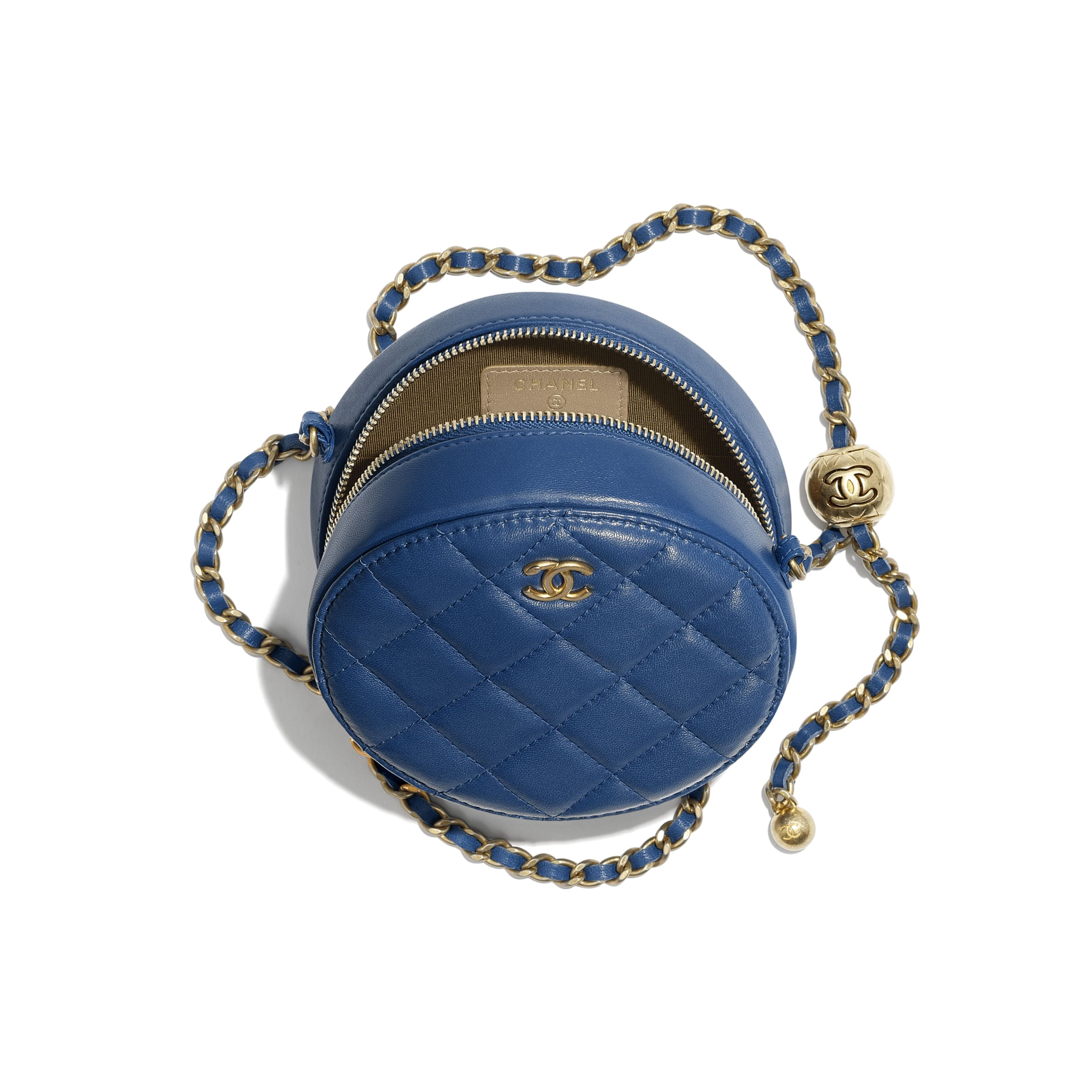 Clutch with Chain - Dark Blue - Lambskin & Gold-Tone Metal - CHANEL - Alternative view - see standard sized version