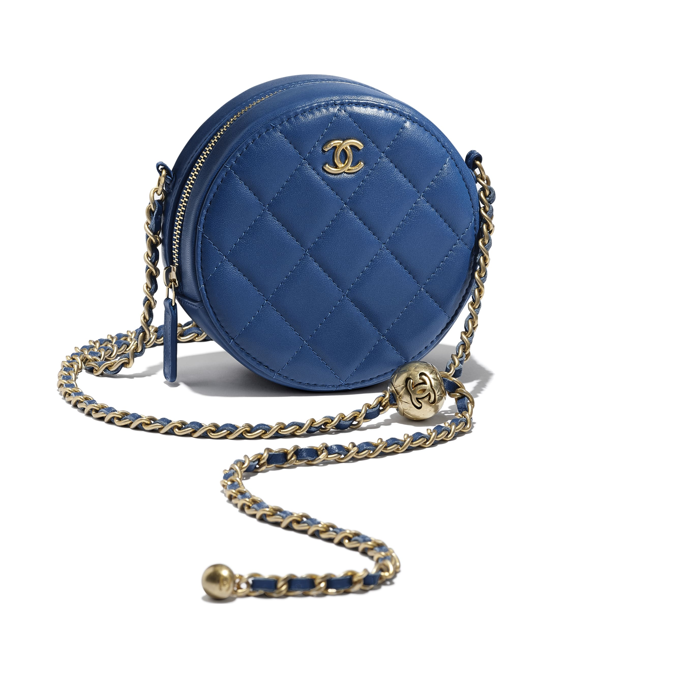 Clutch with Chain - Dark Blue - Lambskin & Gold-Tone Metal - CHANEL - Extra view - see standard sized version