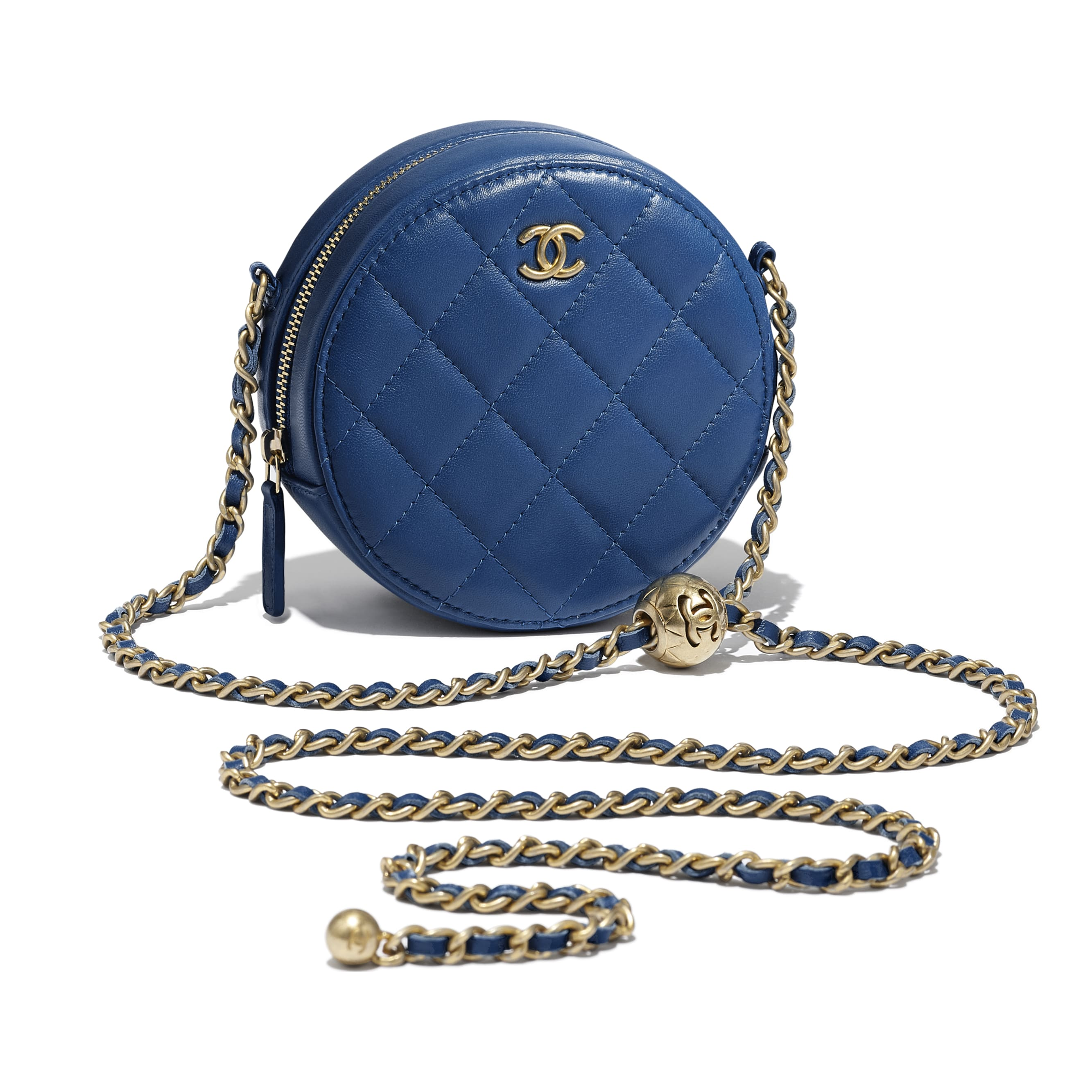 Clutch with Chain - Dark Blue - Lambskin & Gold-Tone Metal - CHANEL - Other view - see standard sized version