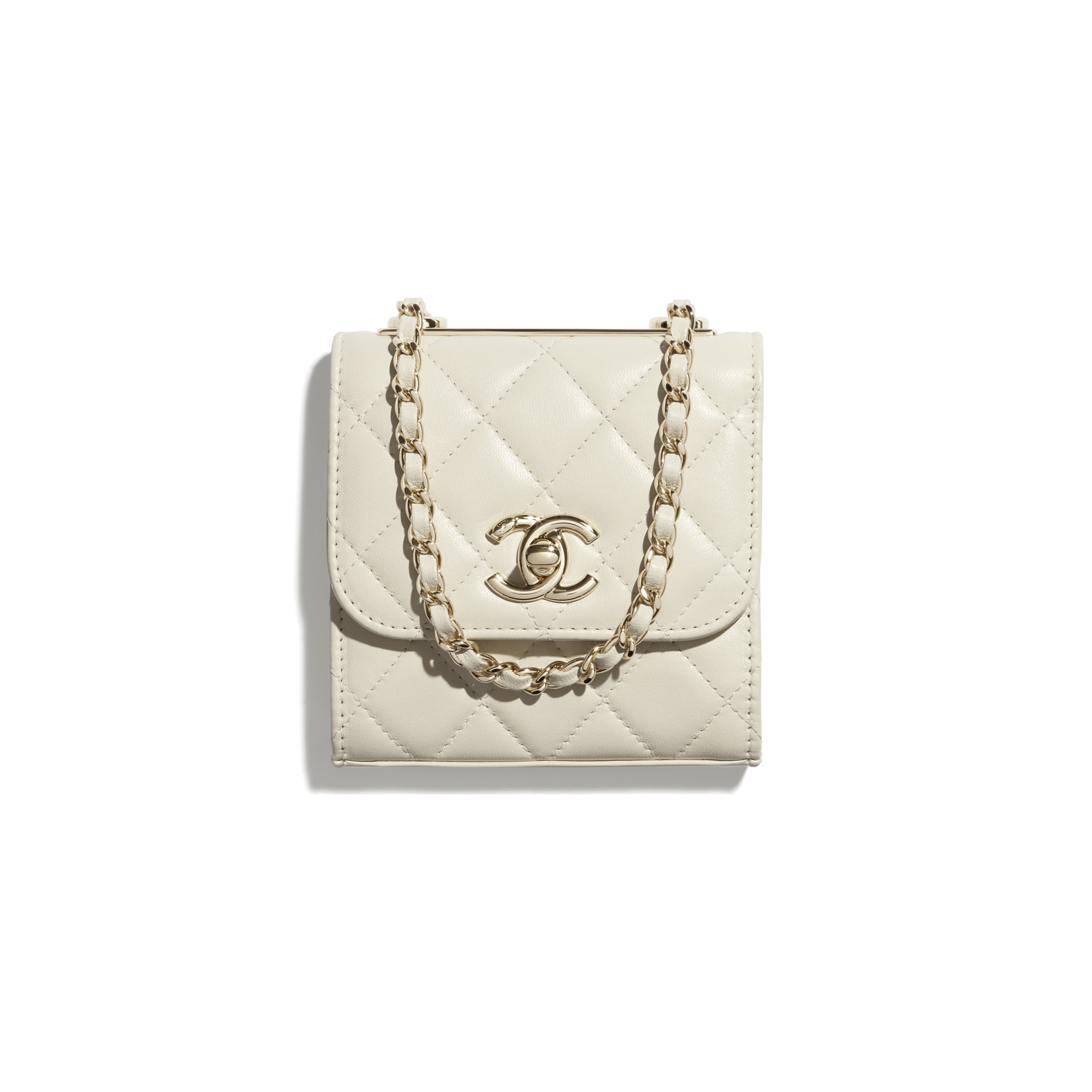 Clutch with Chain - Ecru - Lambskin & Gold-Tone Metal - CHANEL - Default view - see standard sized version