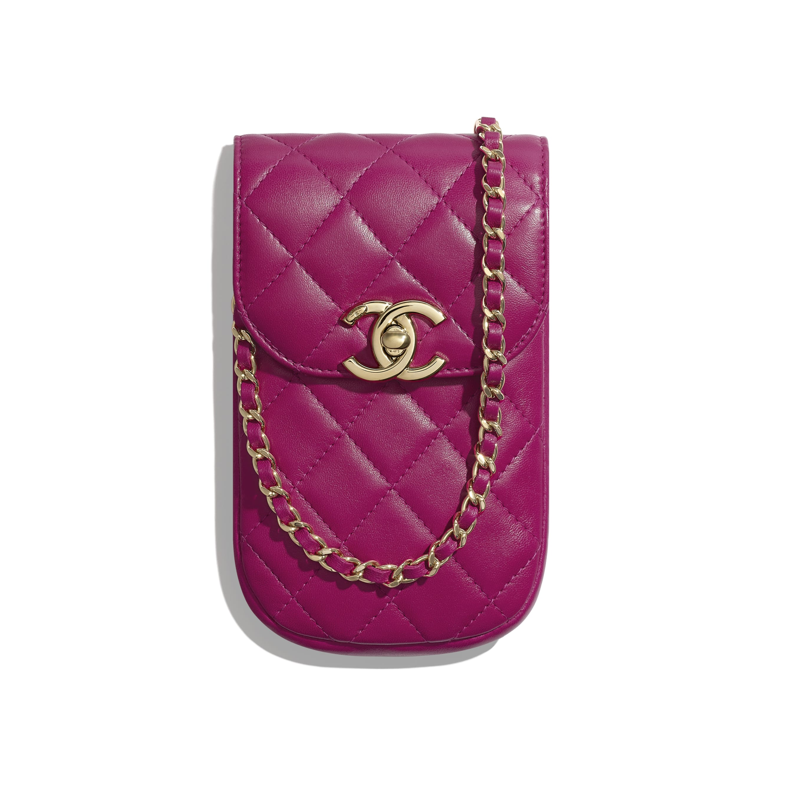Clutch With Chain - Fuchsia - Lambskin - Default view - see standard sized version