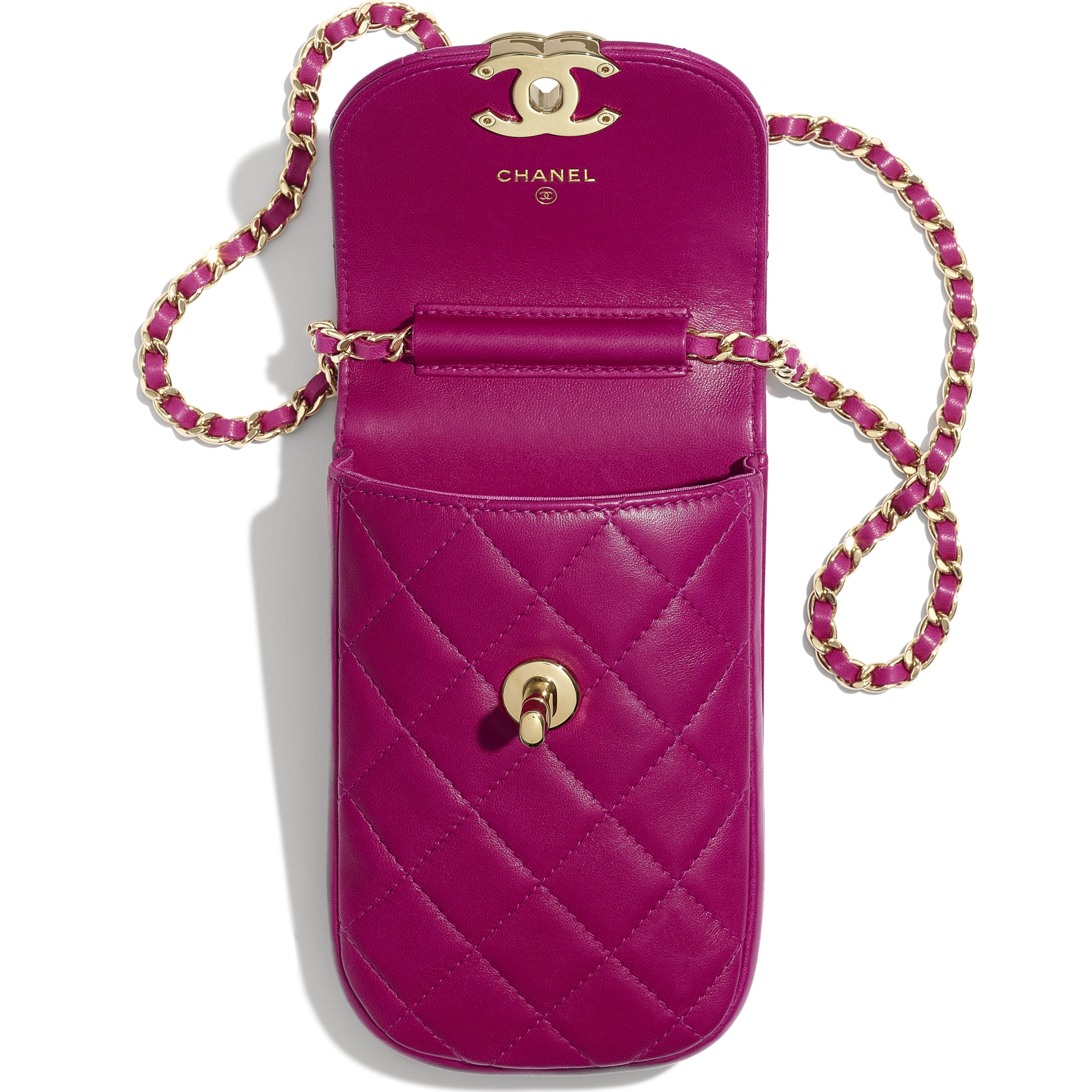 Clutch With Chain - Fuchsia - Lambskin - Other view - see standard sized version