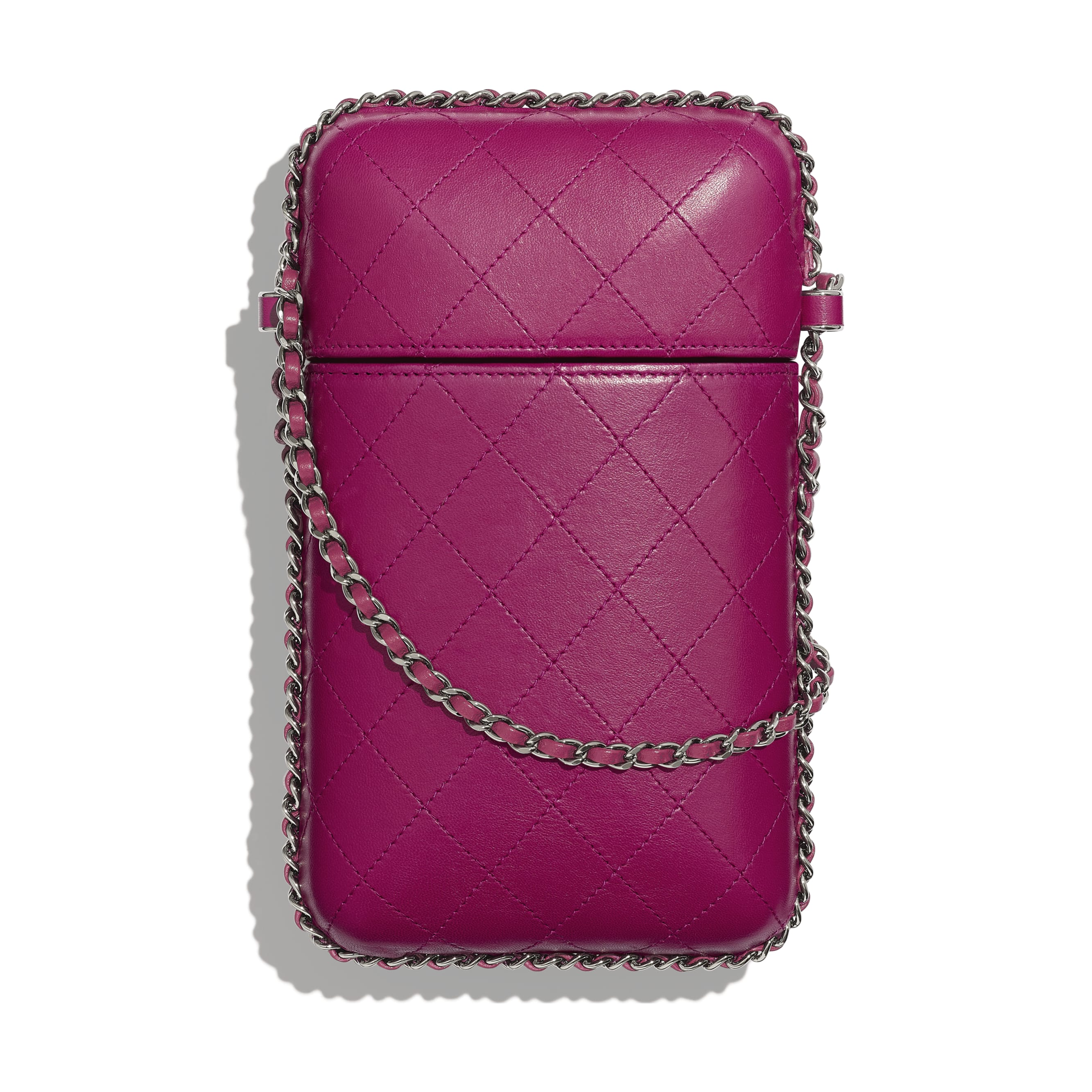 Clutch With Chain - Fuchsia - Lambskin & Ruthenium-Finish Metal - Alternative view - see standard sized version