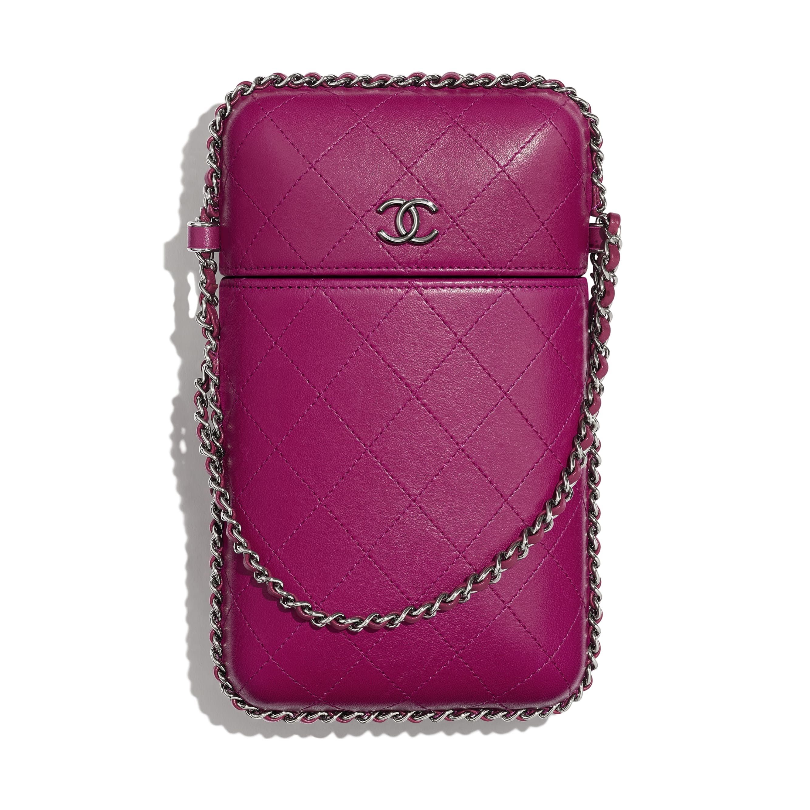 Clutch With Chain - Fuchsia - Lambskin & Ruthenium-Finish Metal - Default view - see standard sized version