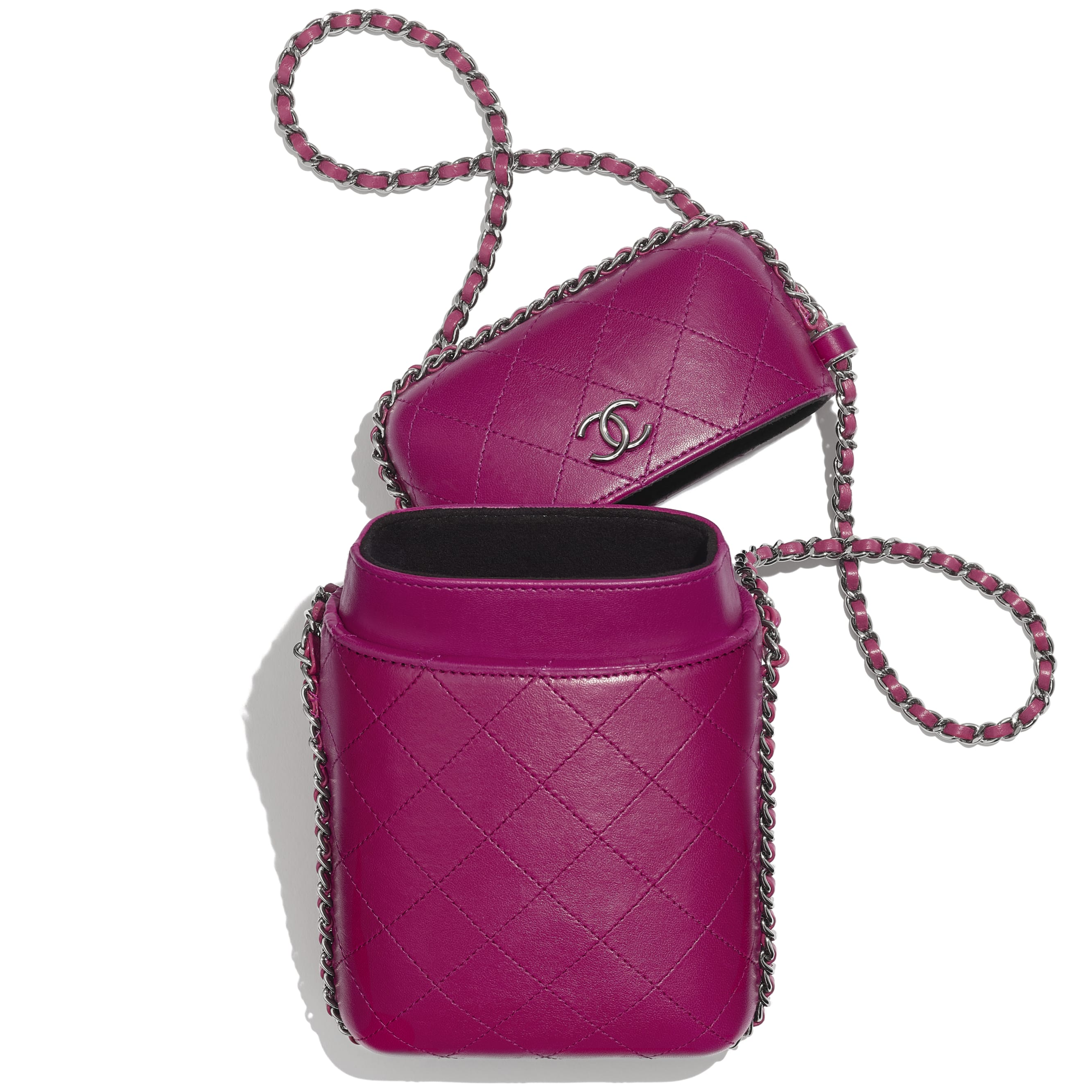 Clutch With Chain - Fuchsia - Lambskin & Ruthenium-Finish Metal - Other view - see standard sized version
