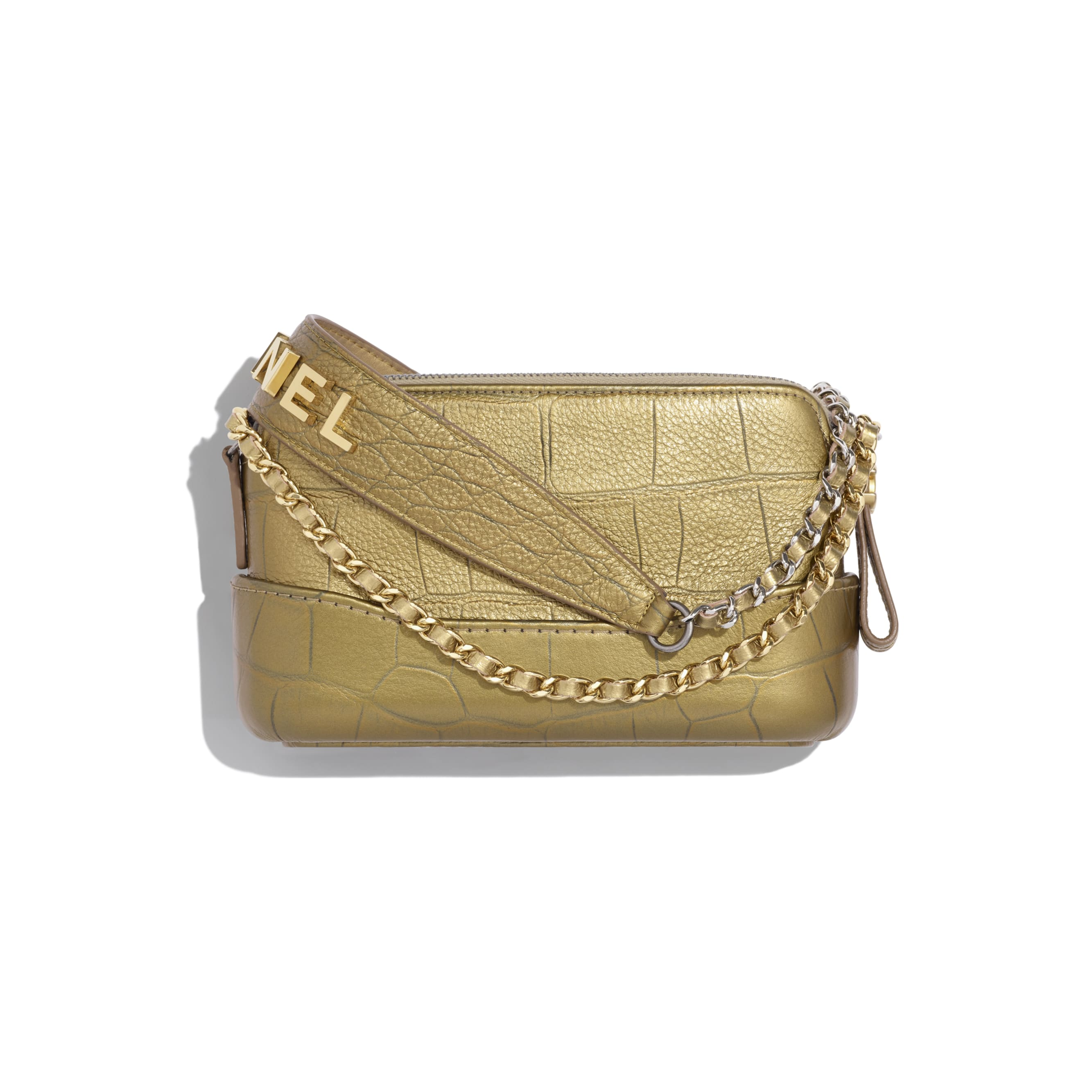 Clutch With Chain - Gold - Metallic Crocodile Embossed Calfskin, Gold-Tone & Silver-Tone Metal - CHANEL - Alternative view - see standard sized version