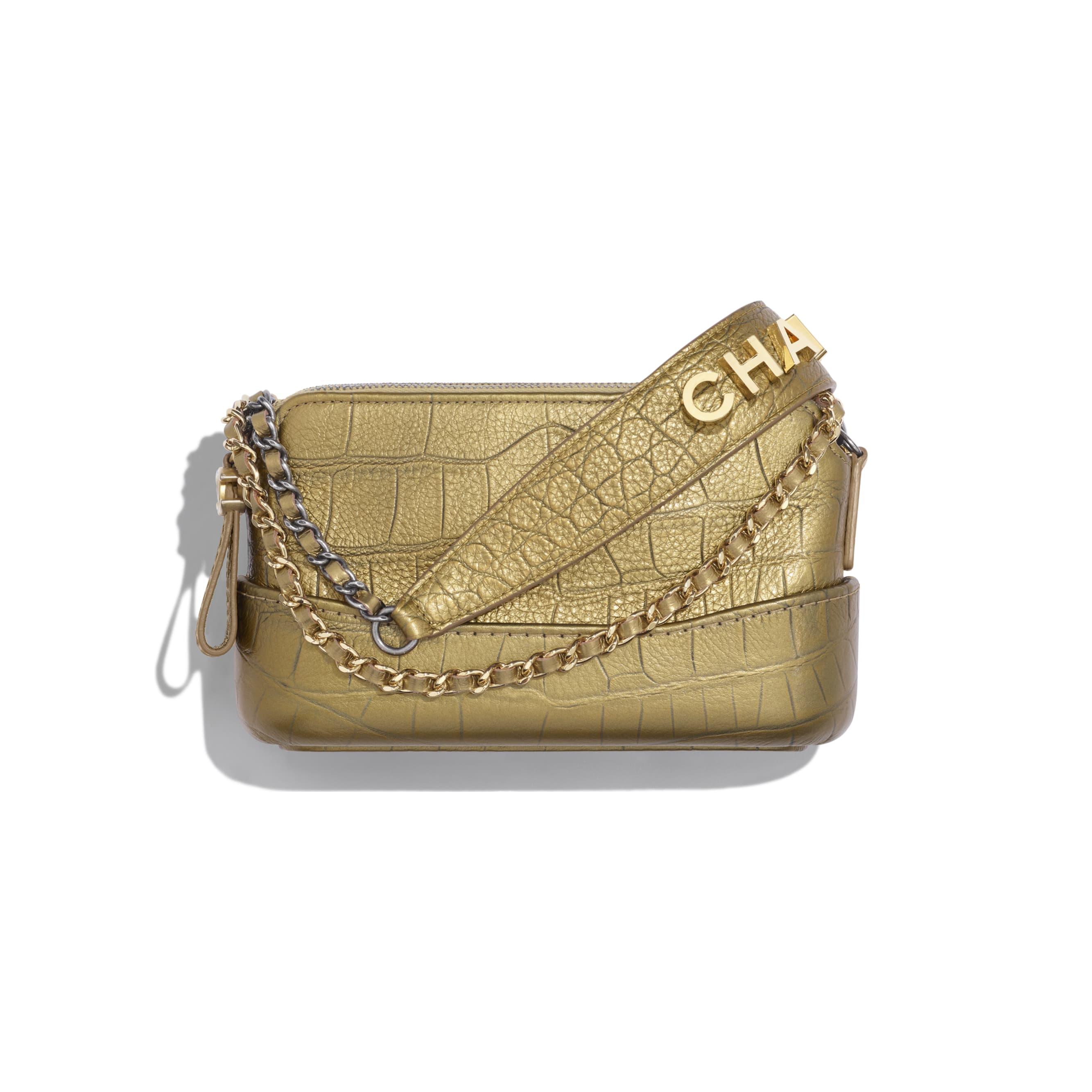 Clutch With Chain - Gold - Metallic Crocodile Embossed Calfskin, Gold-Tone & Silver-Tone Metal - CHANEL - Default view - see standard sized version