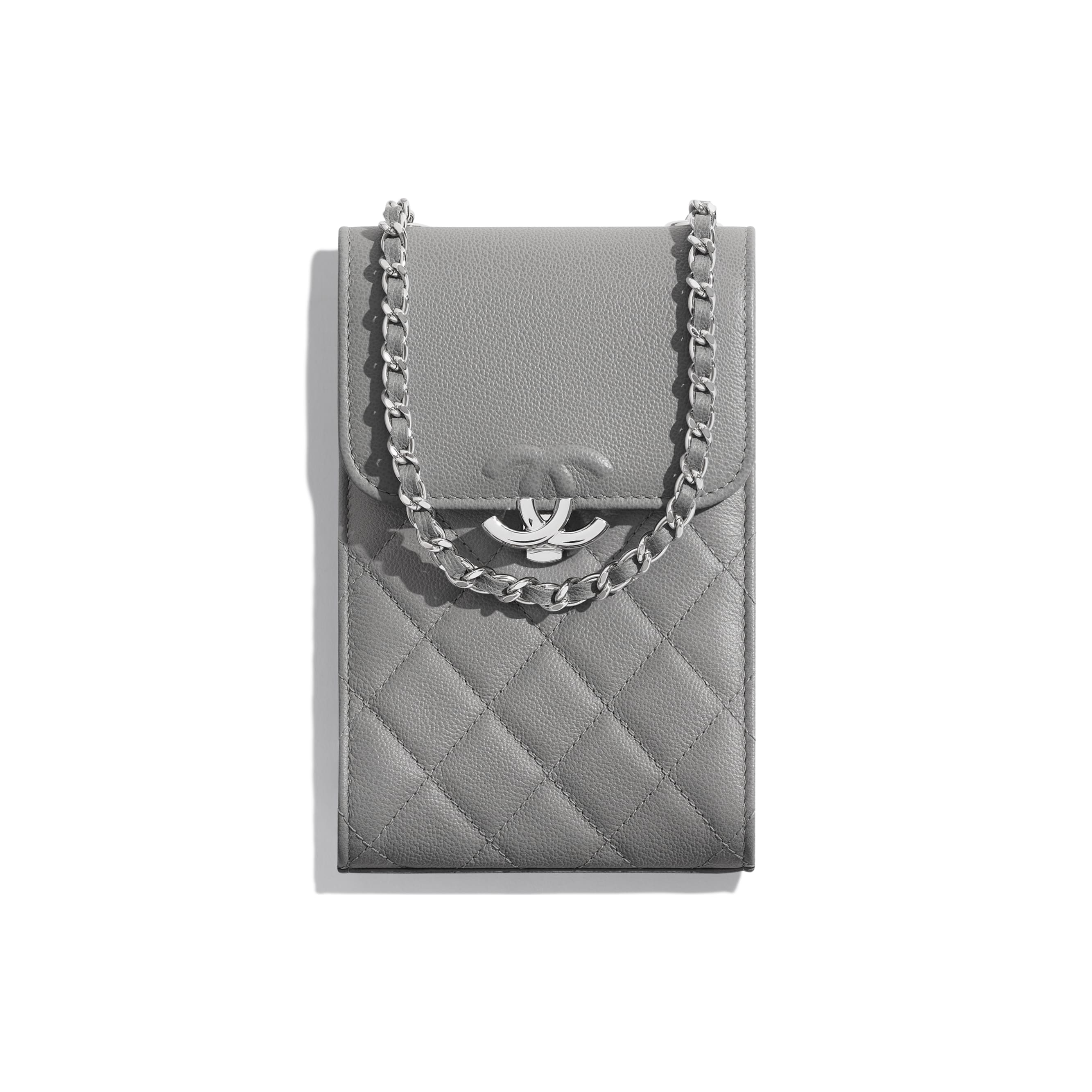 Clutch with Chain - Gray - Grained Calfskin & Silver-Tone Metal - CHANEL - Default view - see standard sized version