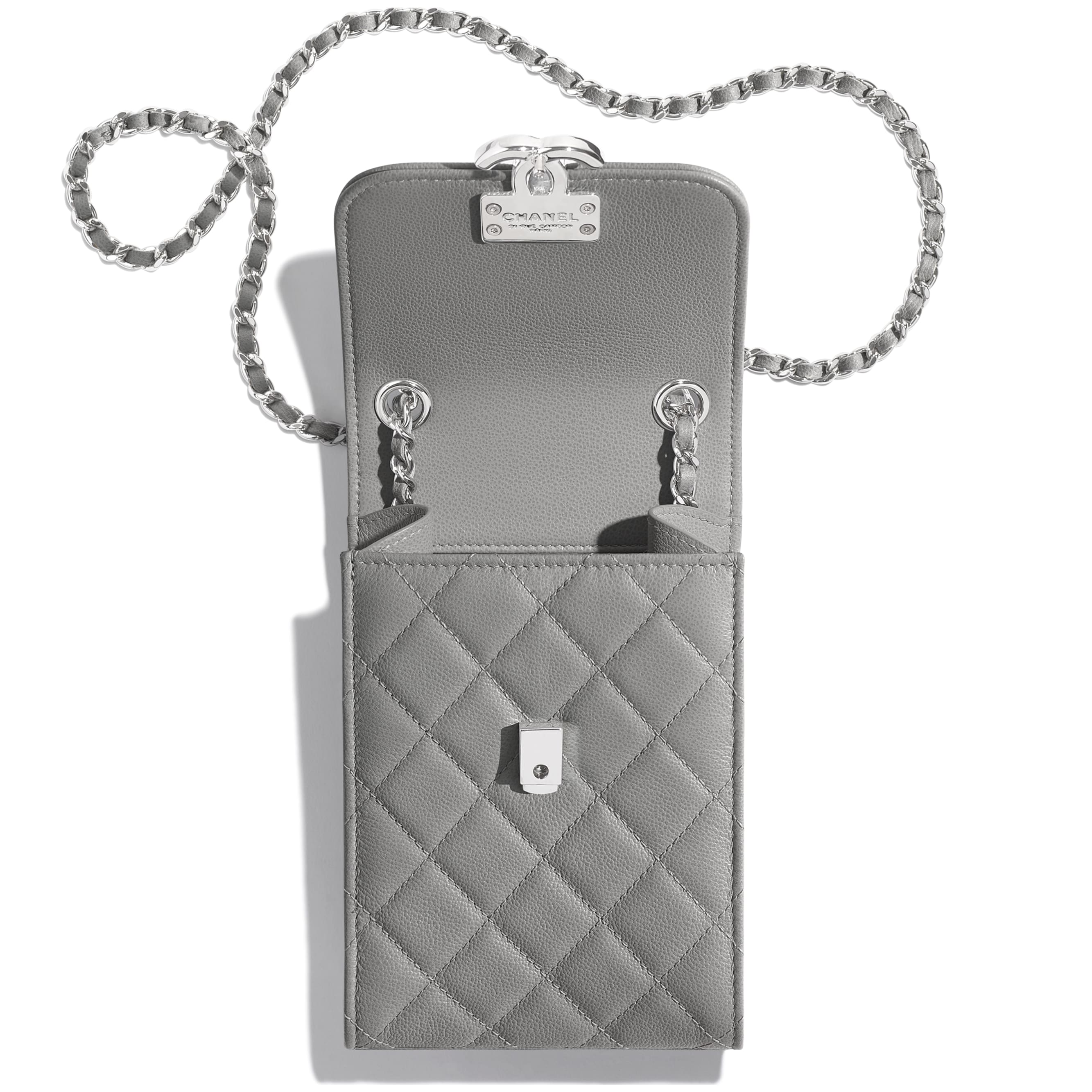 Clutch with Chain - Gray - Grained Calfskin & Silver-Tone Metal - CHANEL - Other view - see standard sized version