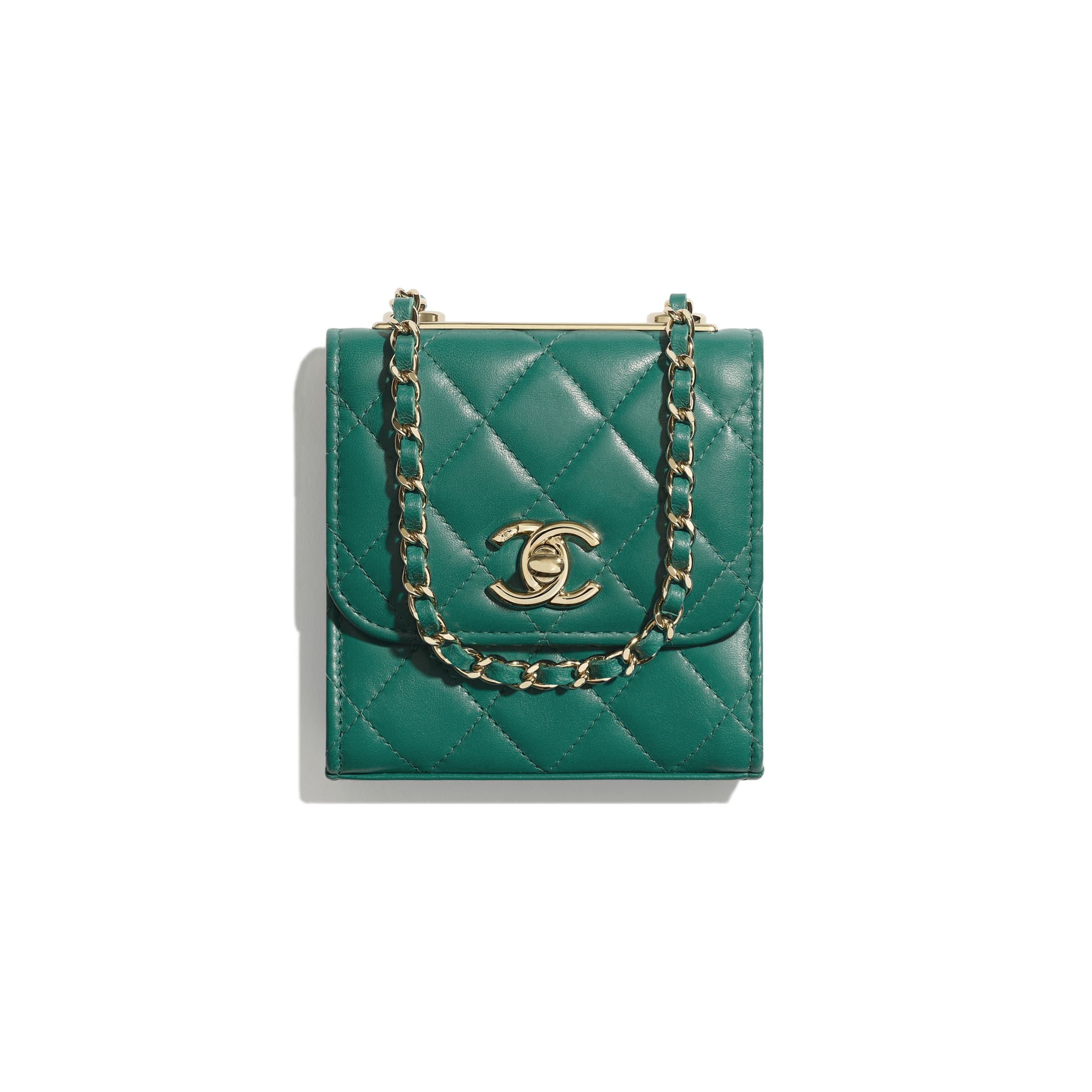 Clutch With Chain - Green - Lambskin - Default view - see standard sized version