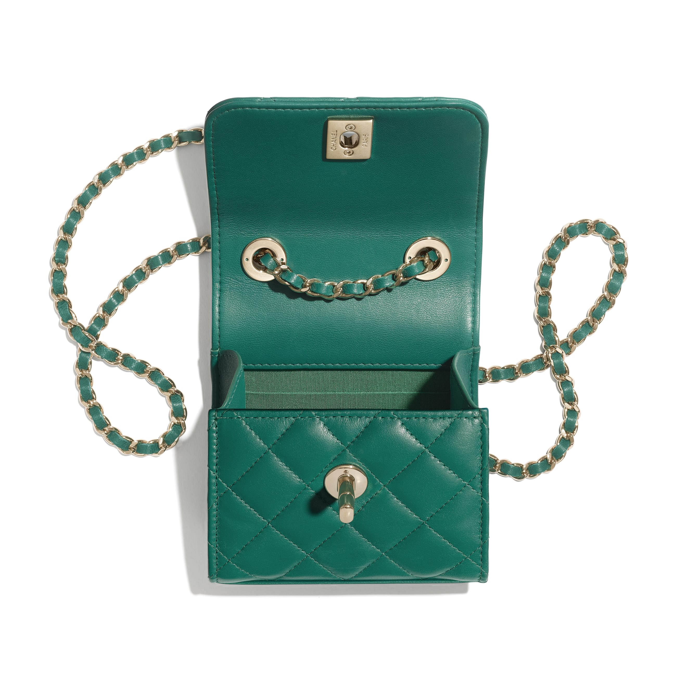 Clutch With Chain - Green - Lambskin - Other view - see standard sized version