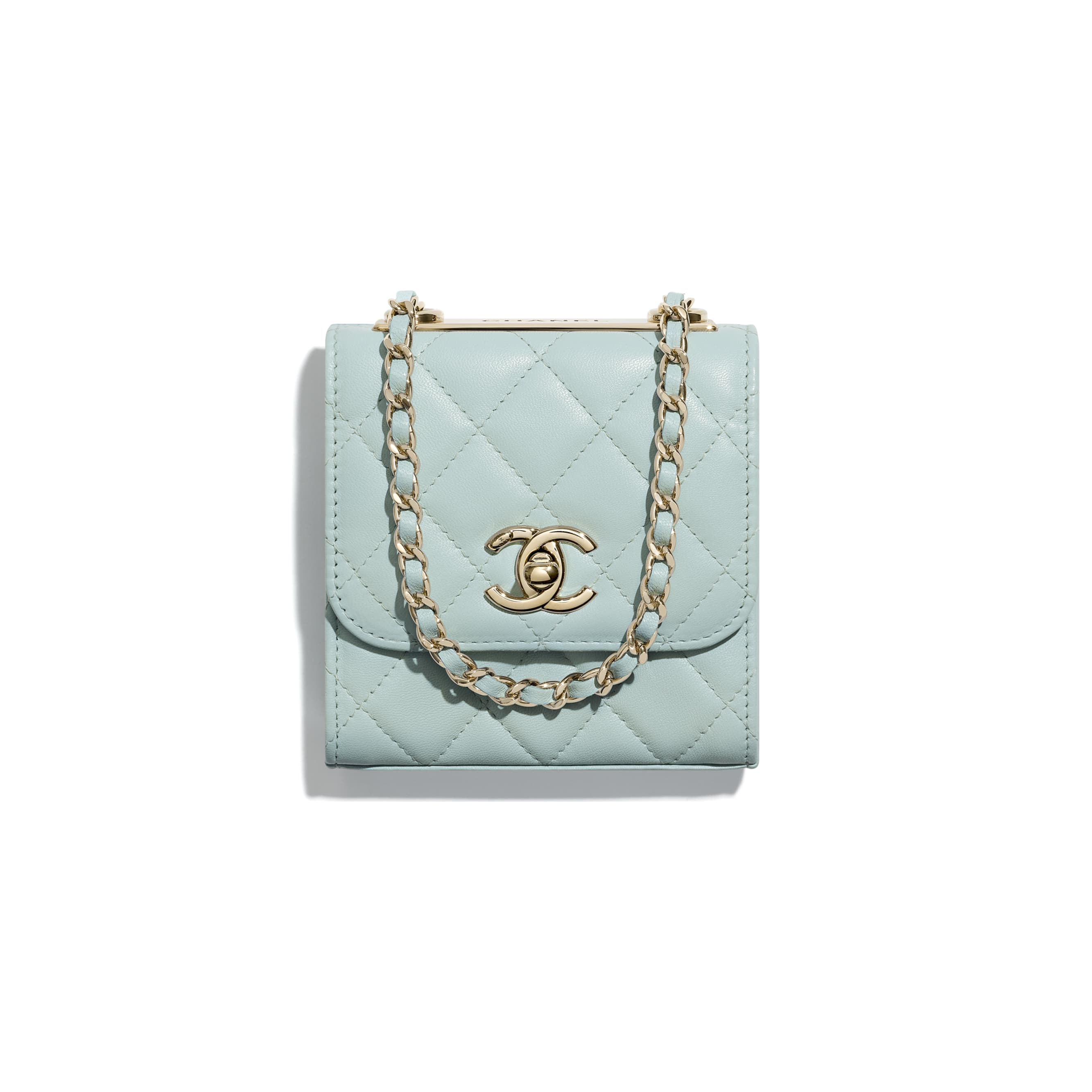 Clutch With Chain - Light Blue - Lambskin - CHANEL - Default view - see standard sized version