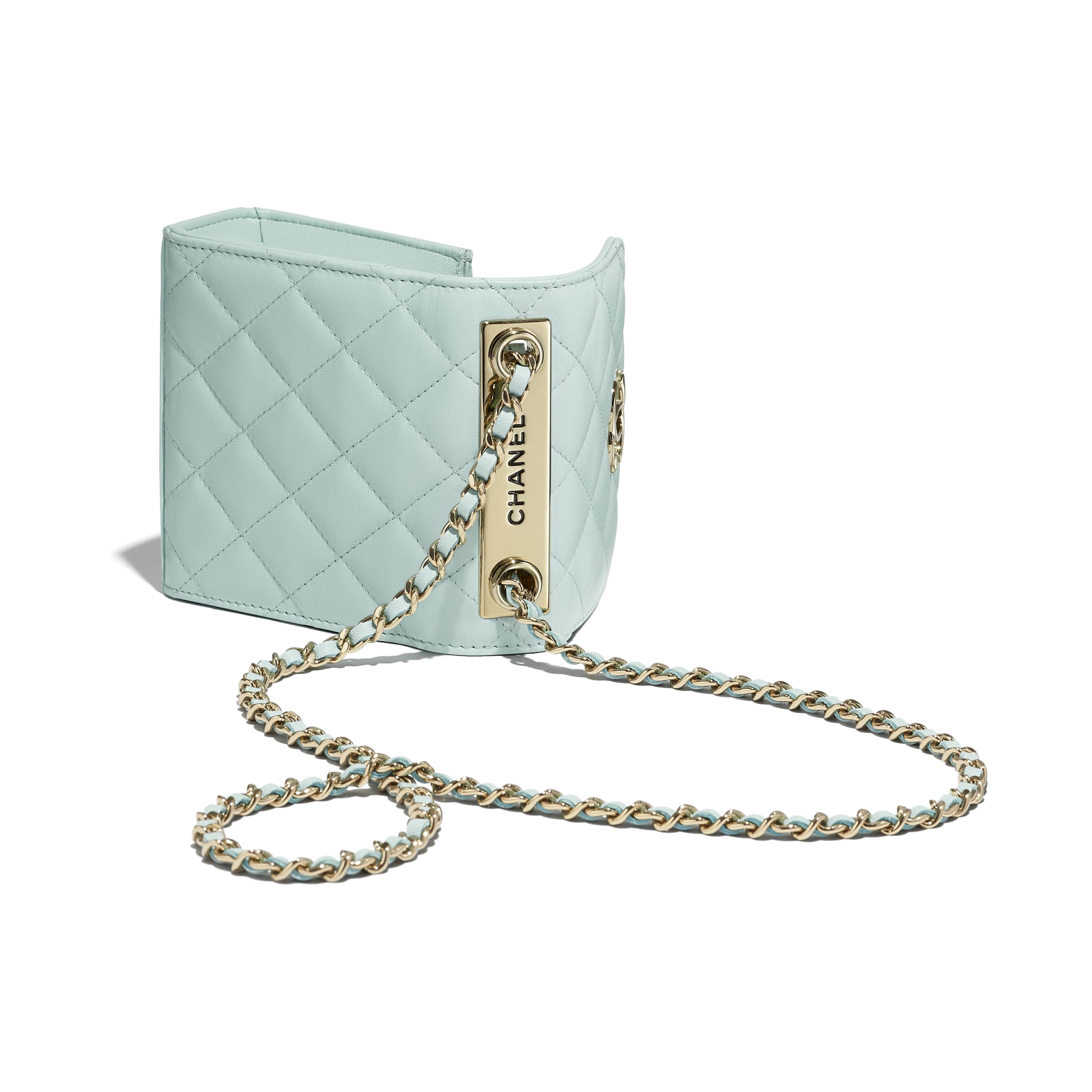 Clutch With Chain - Light Blue - Lambskin - CHANEL - Extra view - see standard sized version
