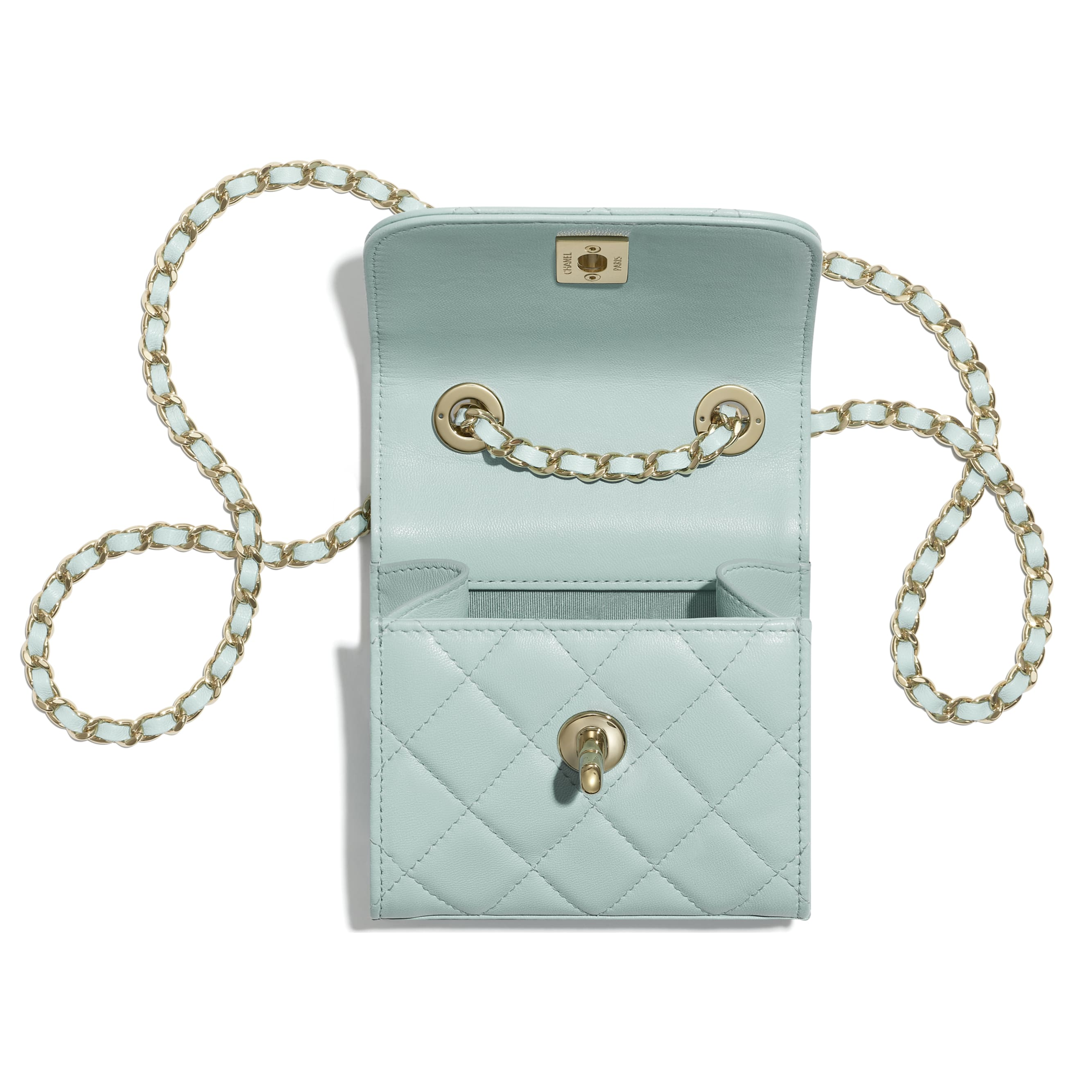 Clutch With Chain - Light Blue - Lambskin - CHANEL - Other view - see standard sized version