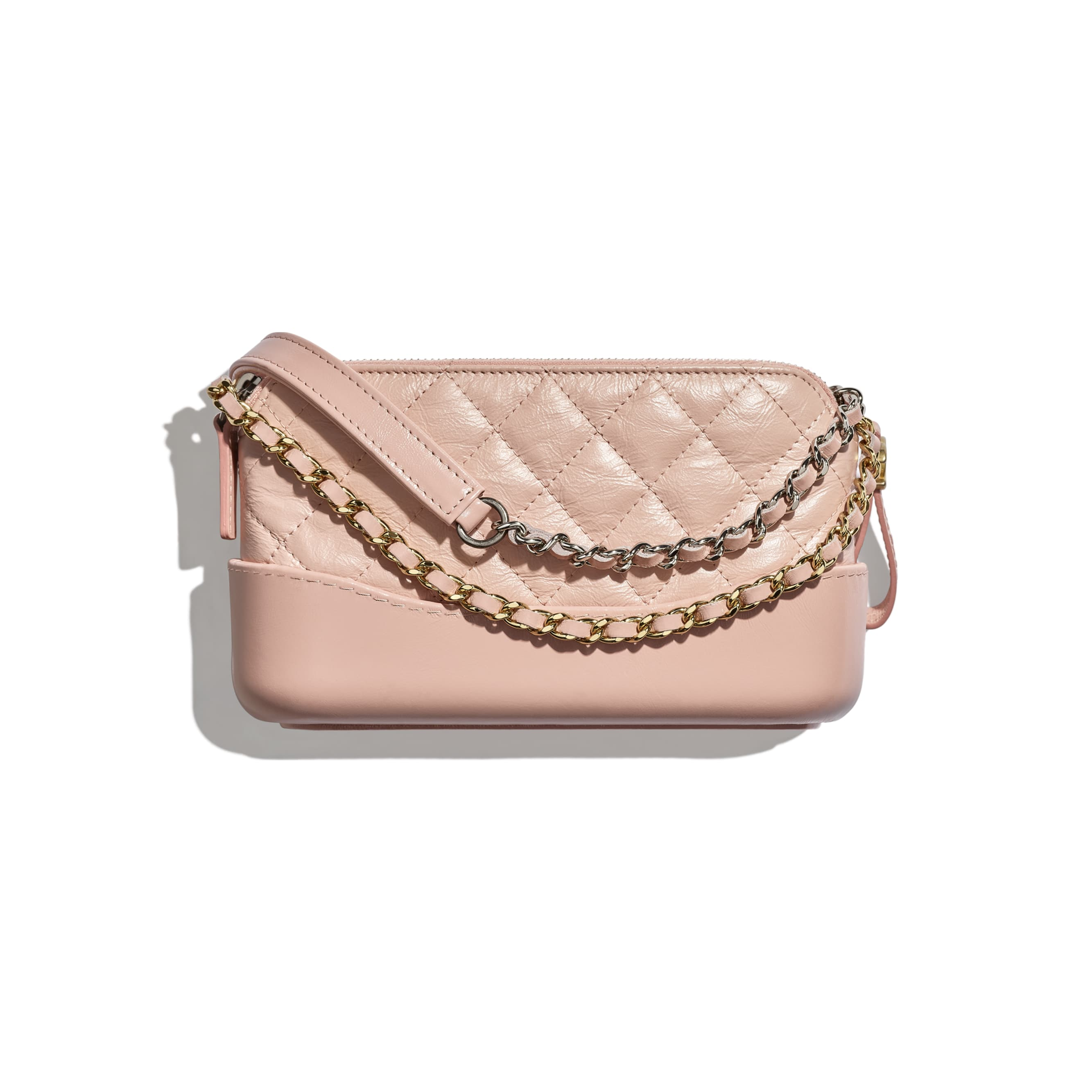 Clutch with Chain - Light Pink - Aged Calfskin, Smooth Calfskin, Gold-Tone, Silver-Tone & Ruthenium-Finish Metal - CHANEL - Alternative view - see standard sized version
