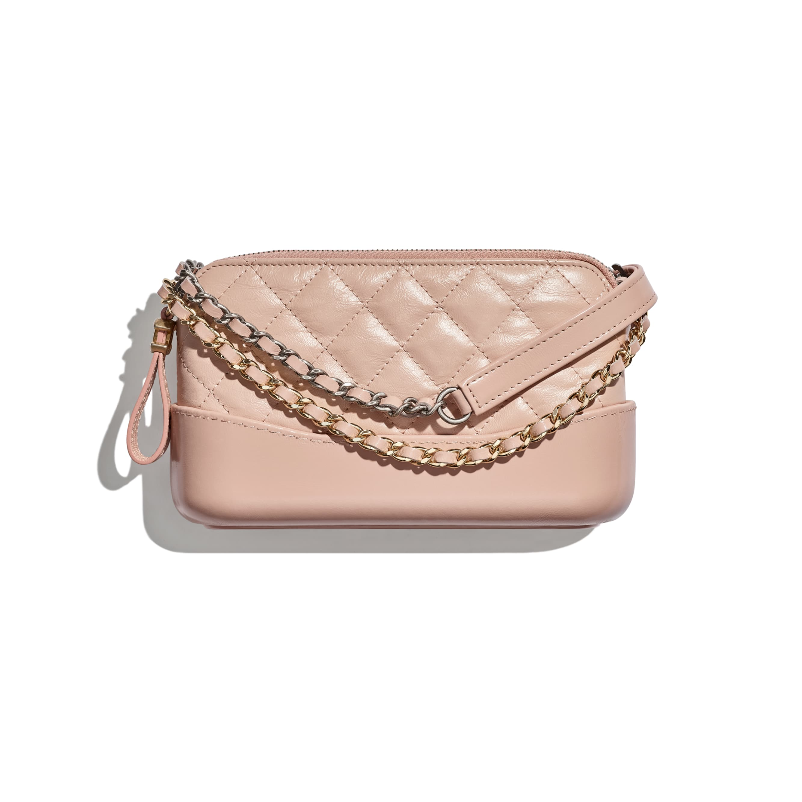 Clutch with Chain - Light Pink - Aged Calfskin, Smooth Calfskin, Gold-Tone, Silver-Tone & Ruthenium-Finish Metal - CHANEL - Default view - see standard sized version