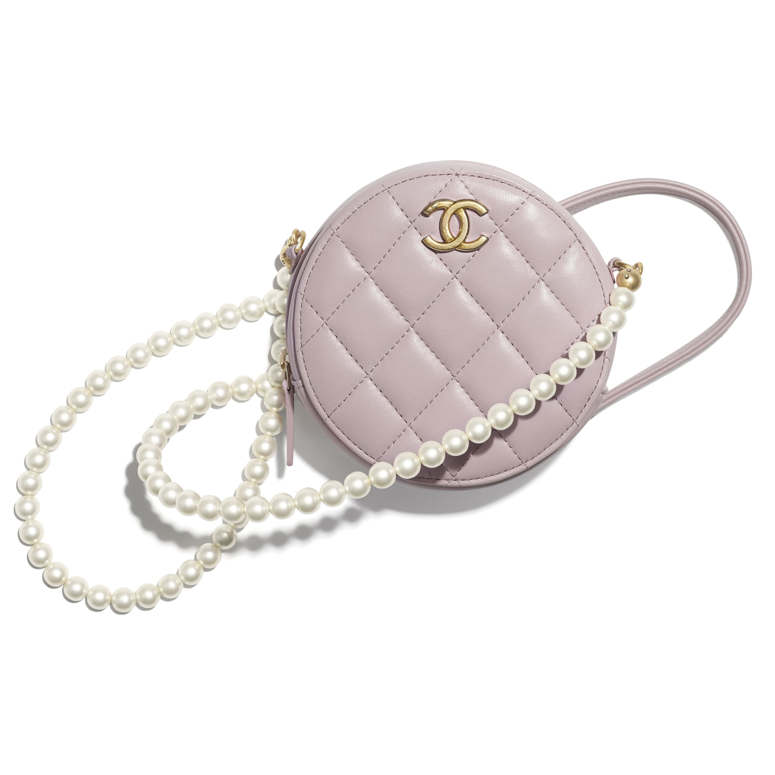 Clutch with Chain - Light Pink - Calfskin, Imitation Pearls & Gold-Tone Metal - CHANEL - Default view - see standard sized version