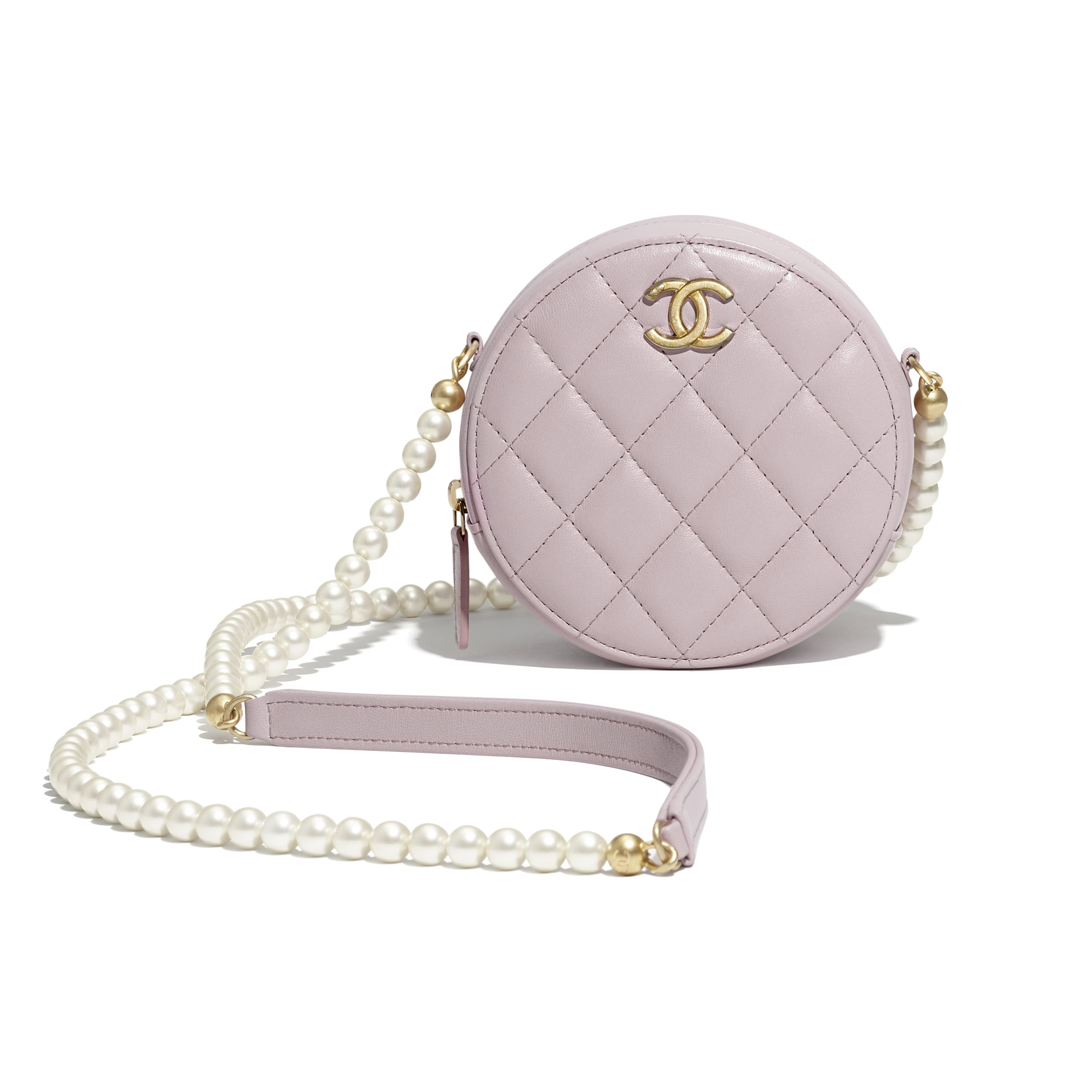 Clutch With Chain - Light Pink - Calfskin, Imitation Pearls & Gold-Tone Metal - CHANEL - Extra view - see standard sized version