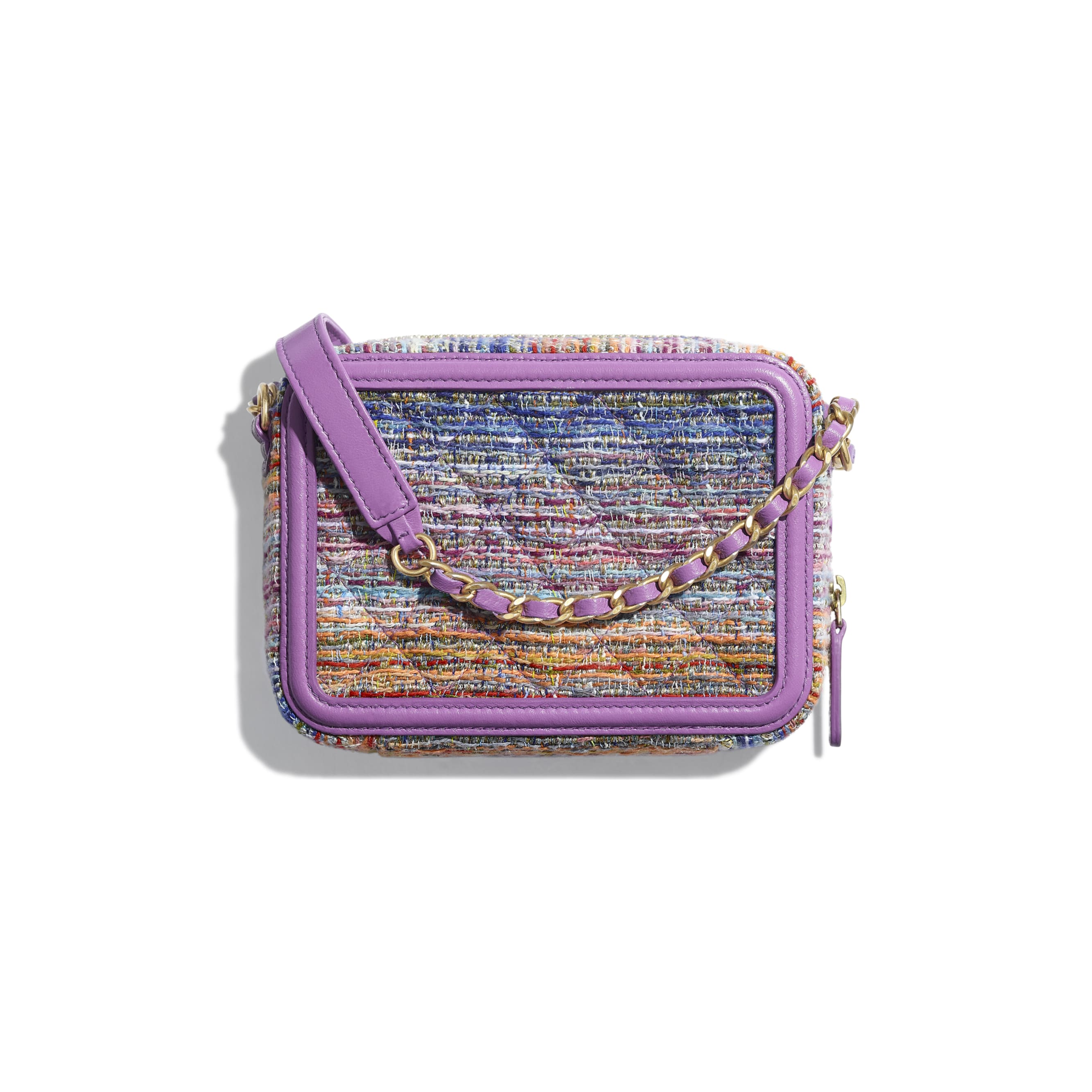Clutch With Chain - Multicolour - Tweed, Calfskin & Gold-Tone Metal - Alternative view - see standard sized version