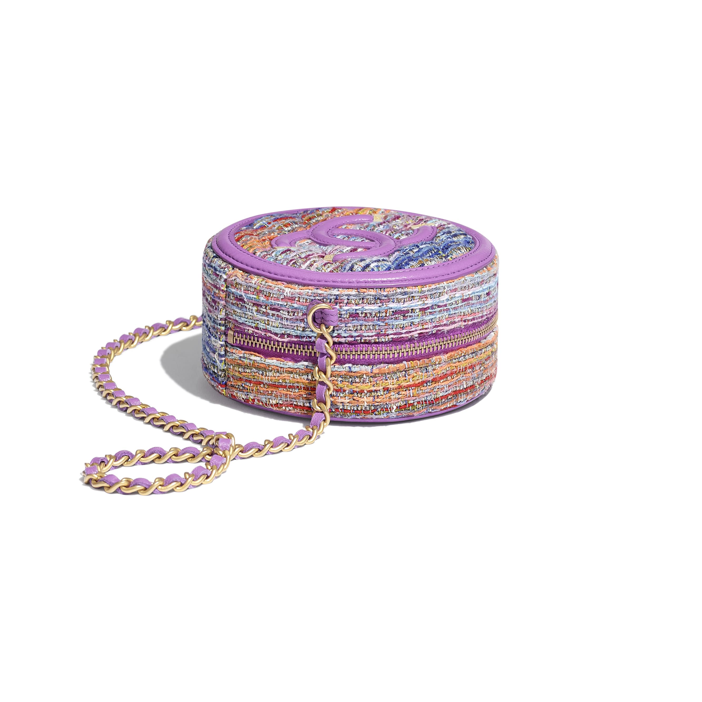 Clutch With Chain - Multicolour - Tweed, Calfskin & Gold-Tone Metal - Extra view - see standard sized version