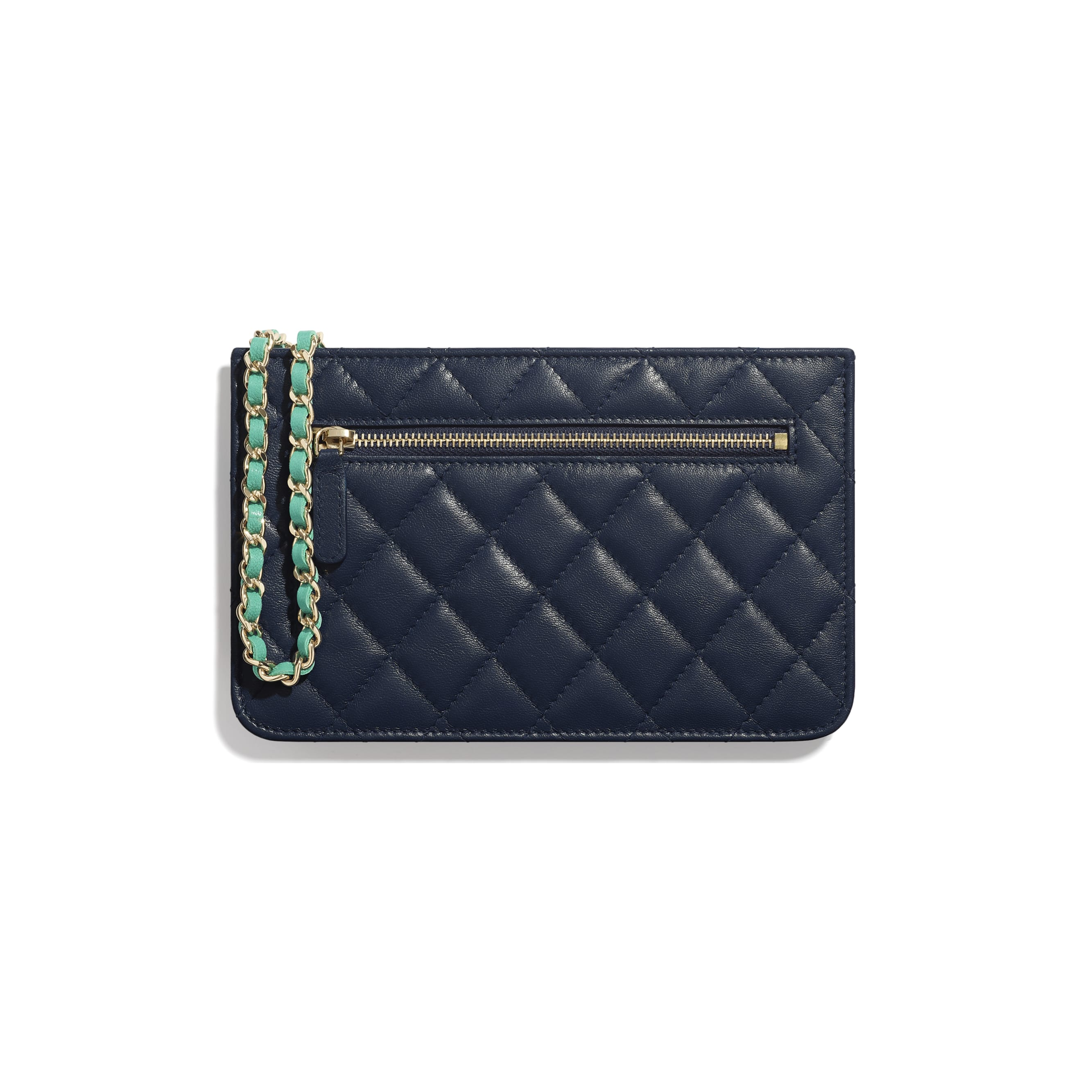 Clutch With Chain - Navy Blue, Green & Dark Pink - Goatskin & Gold-Tone Metal - Alternative view - see standard sized version