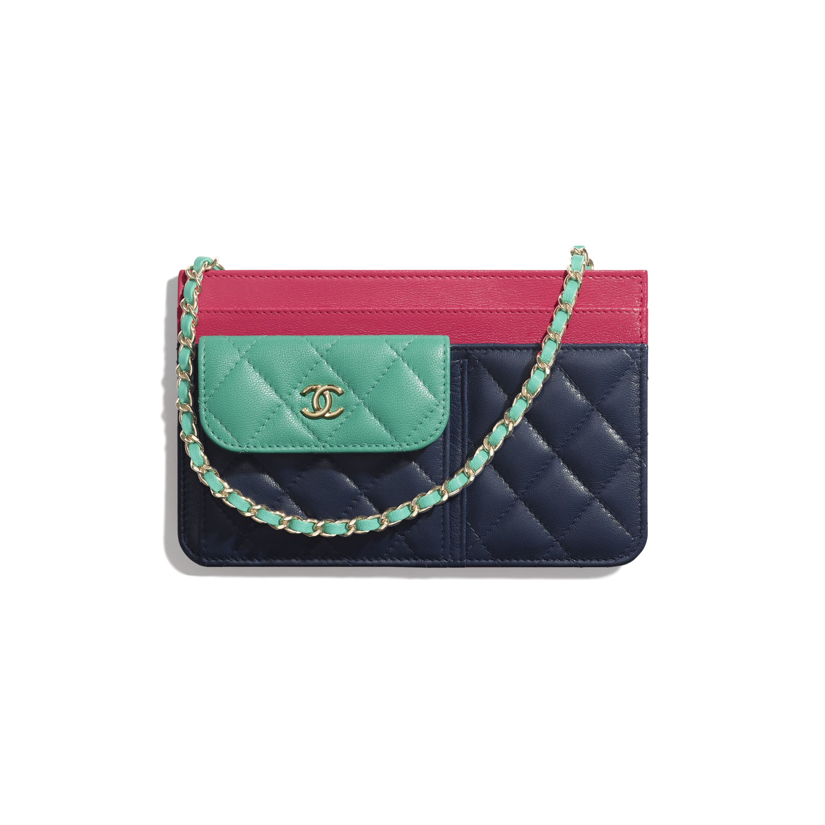 Clutch With Chain - Navy Blue, Green & Dark Pink - Goatskin & Gold-Tone Metal - Default view - see standard sized version