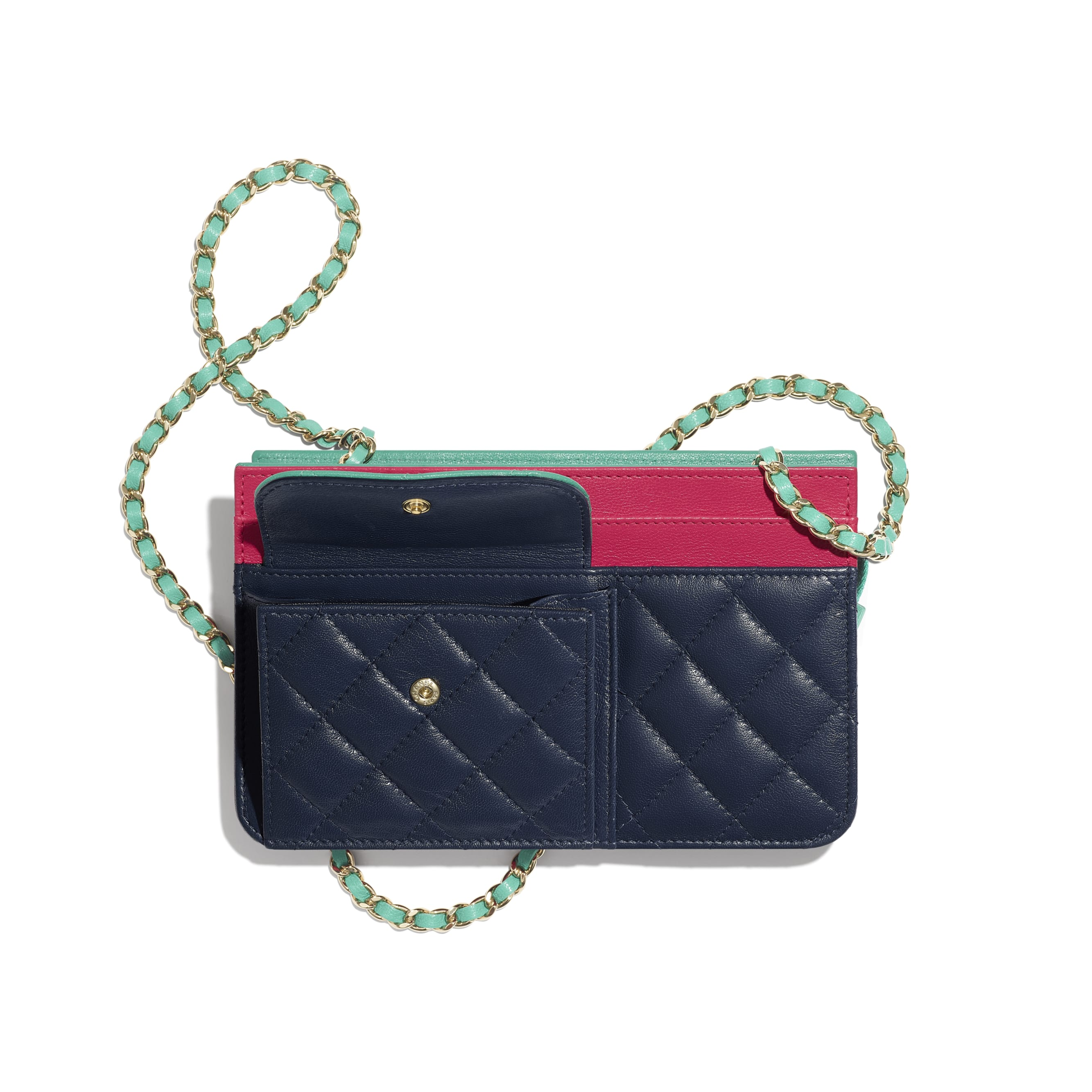 Clutch With Chain - Navy Blue, Green & Dark Pink - Goatskin & Gold-Tone Metal - Other view - see standard sized version