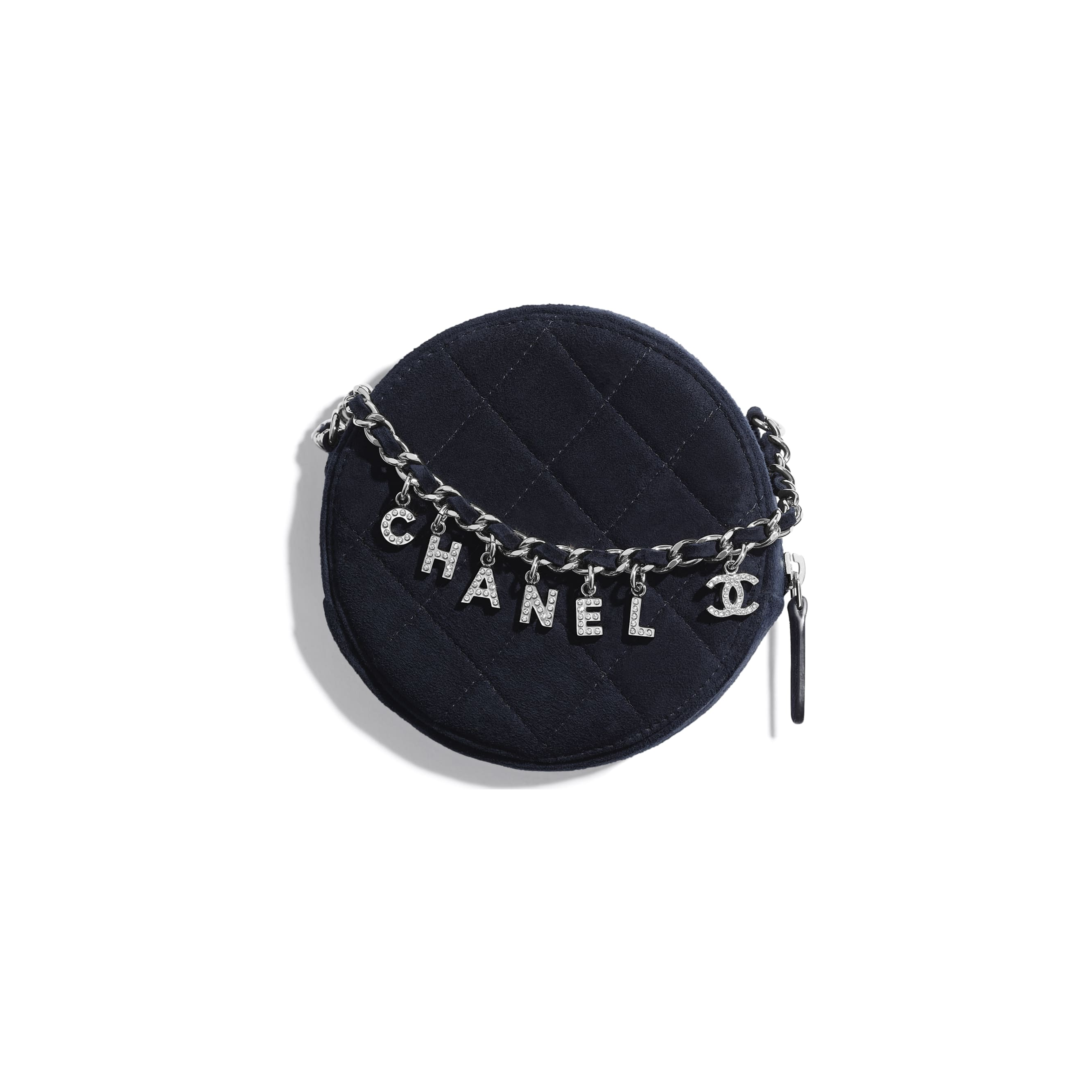 Clutch With Chain - Navy Blue - Suede Goatskin, Strass & Silver-Tone Metal - CHANEL - Alternative view - see standard sized version