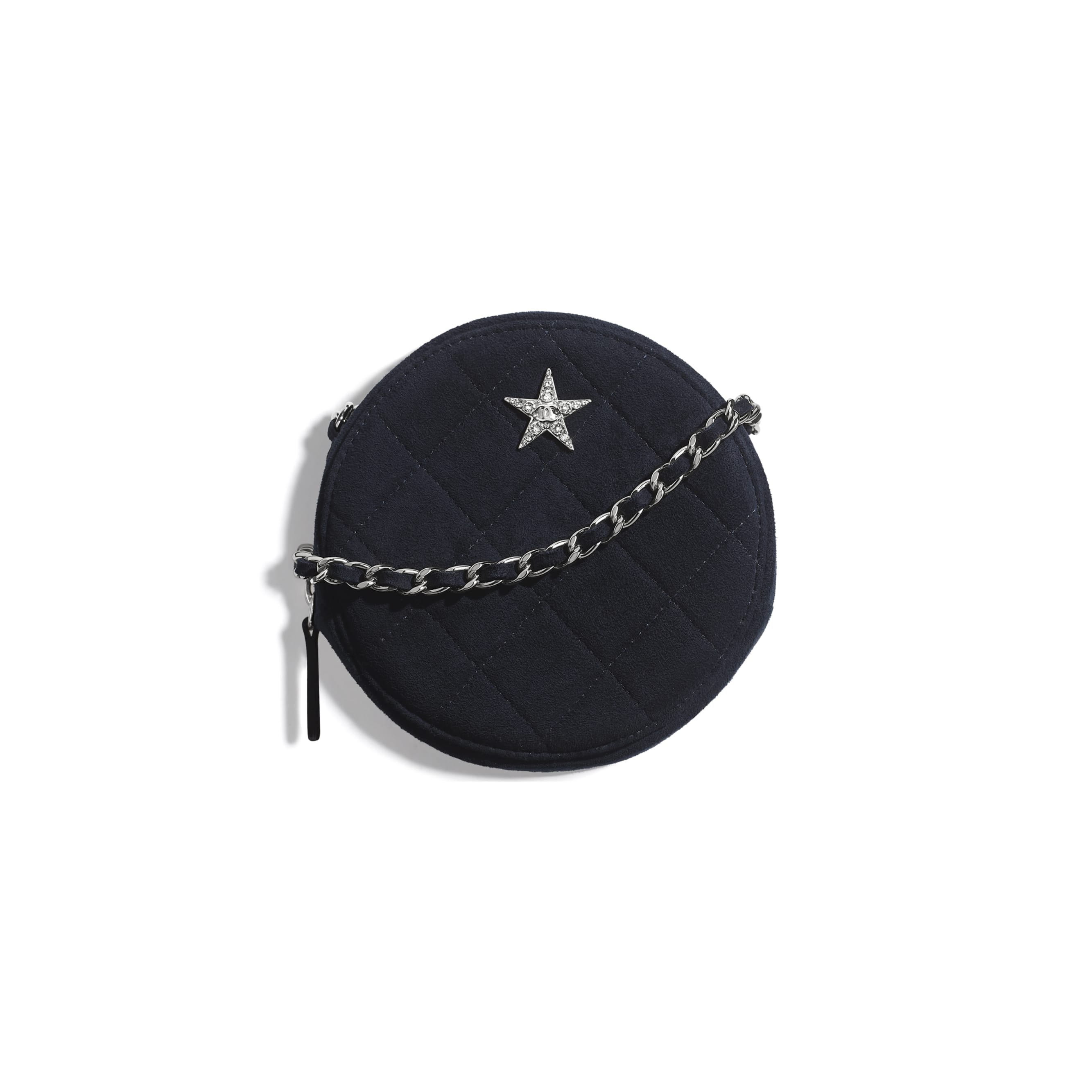 Clutch With Chain - Navy Blue - Suede Goatskin, Strass & Silver-Tone Metal - CHANEL - Default view - see standard sized version