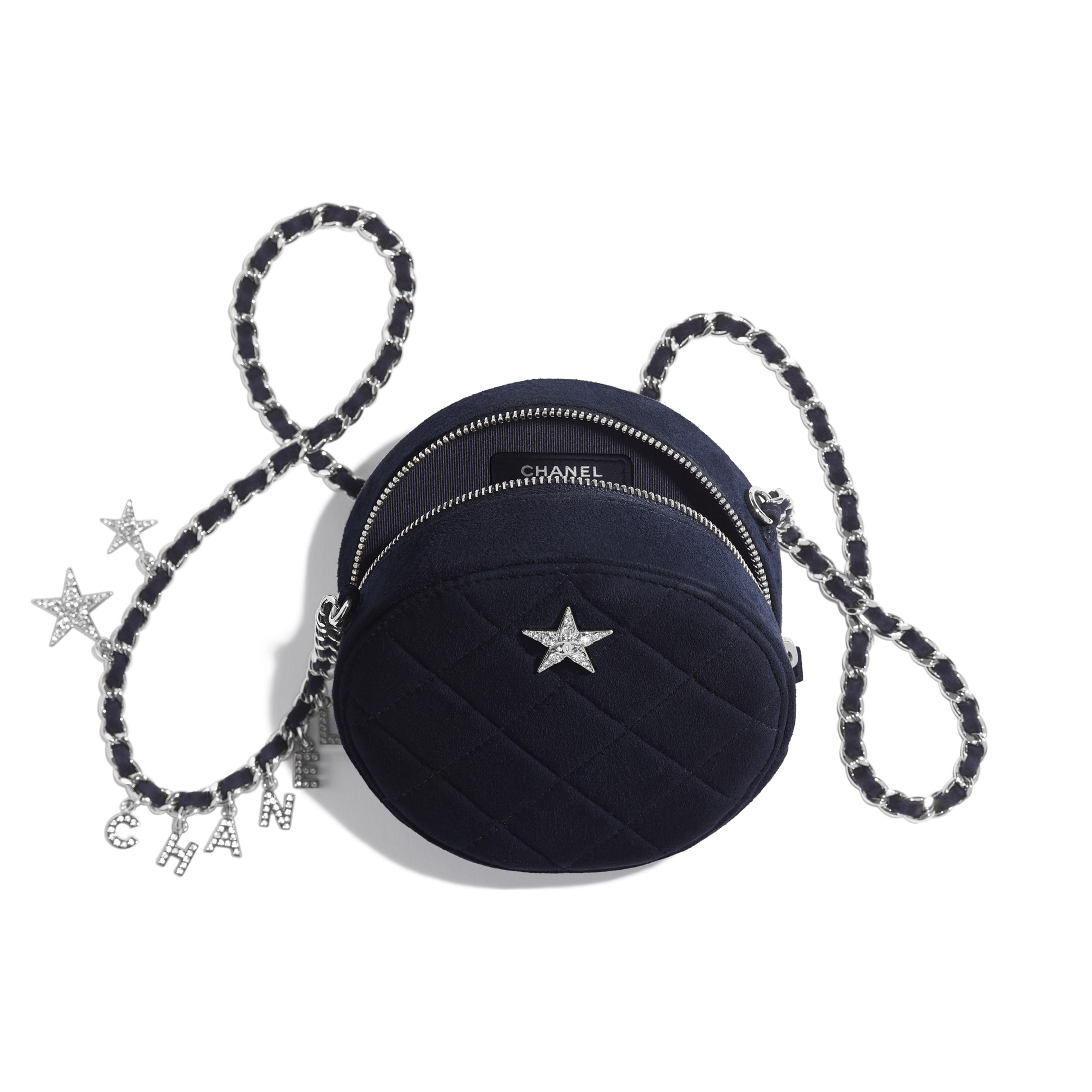 Clutch With Chain - Navy Blue - Suede Goatskin, Strass & Silver-Tone Metal - CHANEL - Other view - see standard sized version